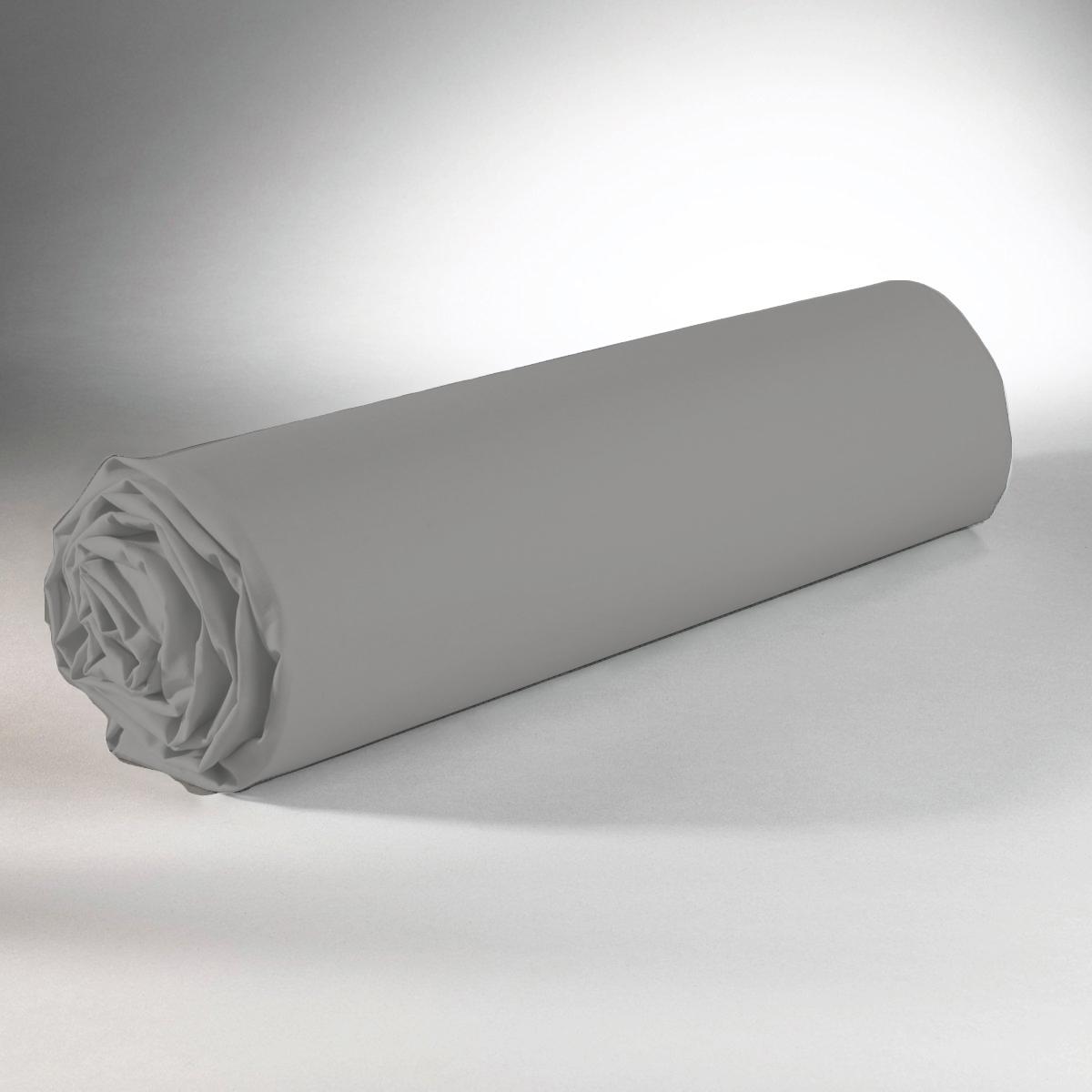 Drap housse 100% coton 140x190+25 gris clair