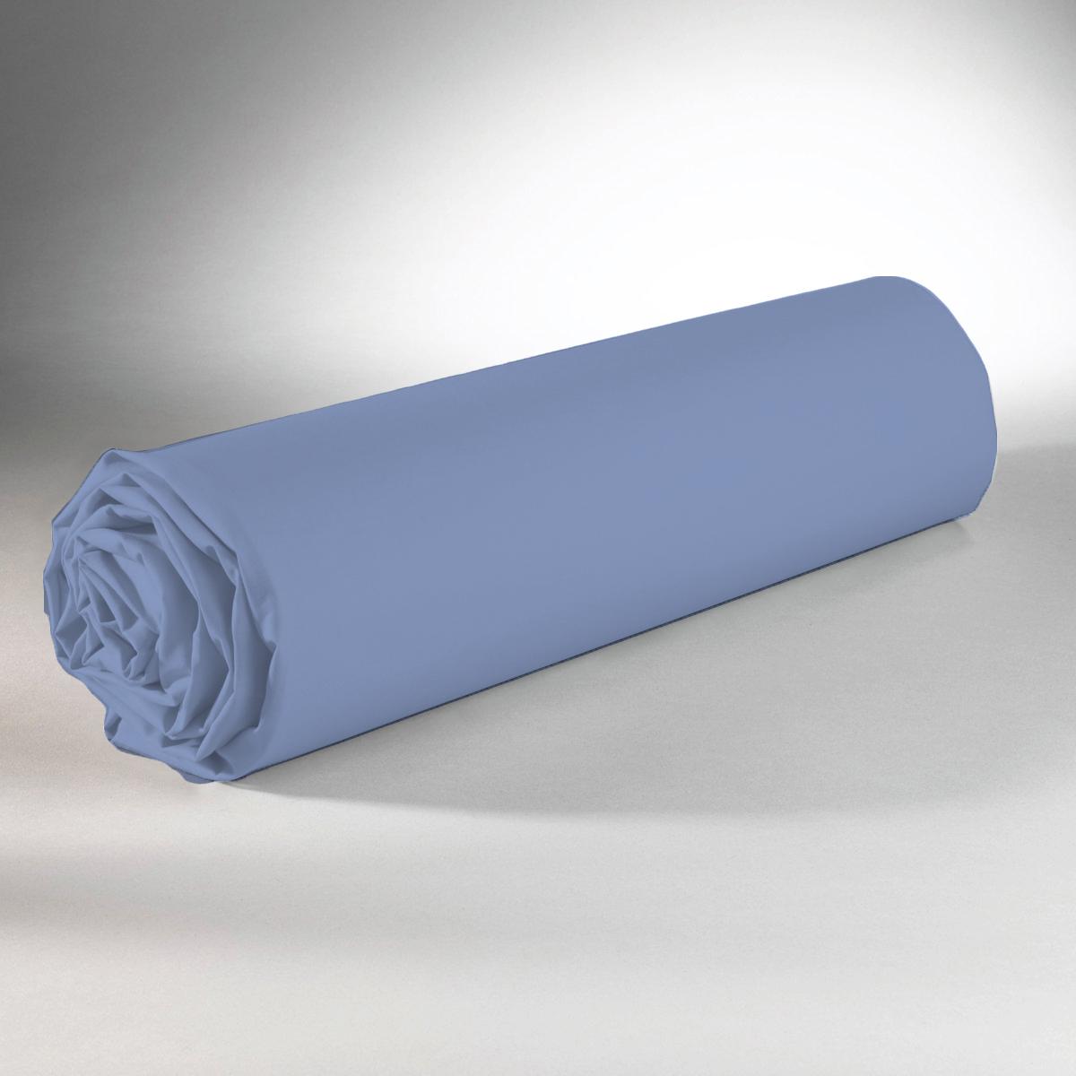 Drap housse 100% coton 90x190+25 bleu clair