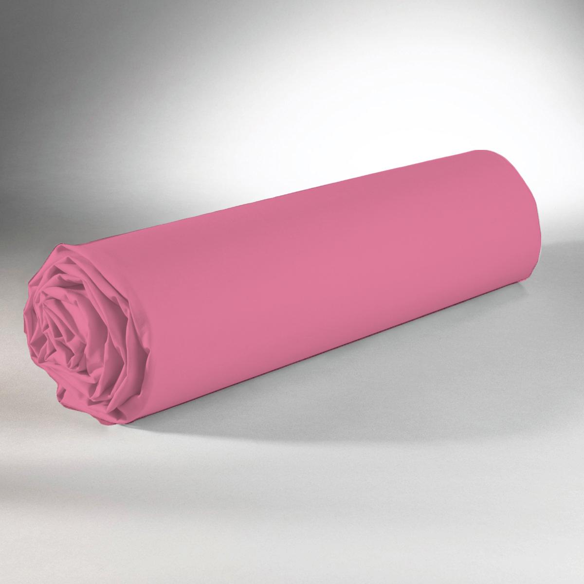 Drap housse 100% coton 90x190+25 rose