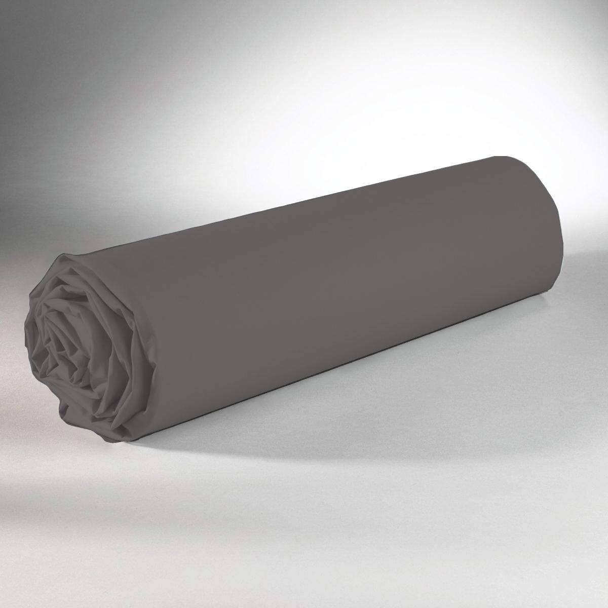 Drap housse 100% coton 90x190+25 anthracite