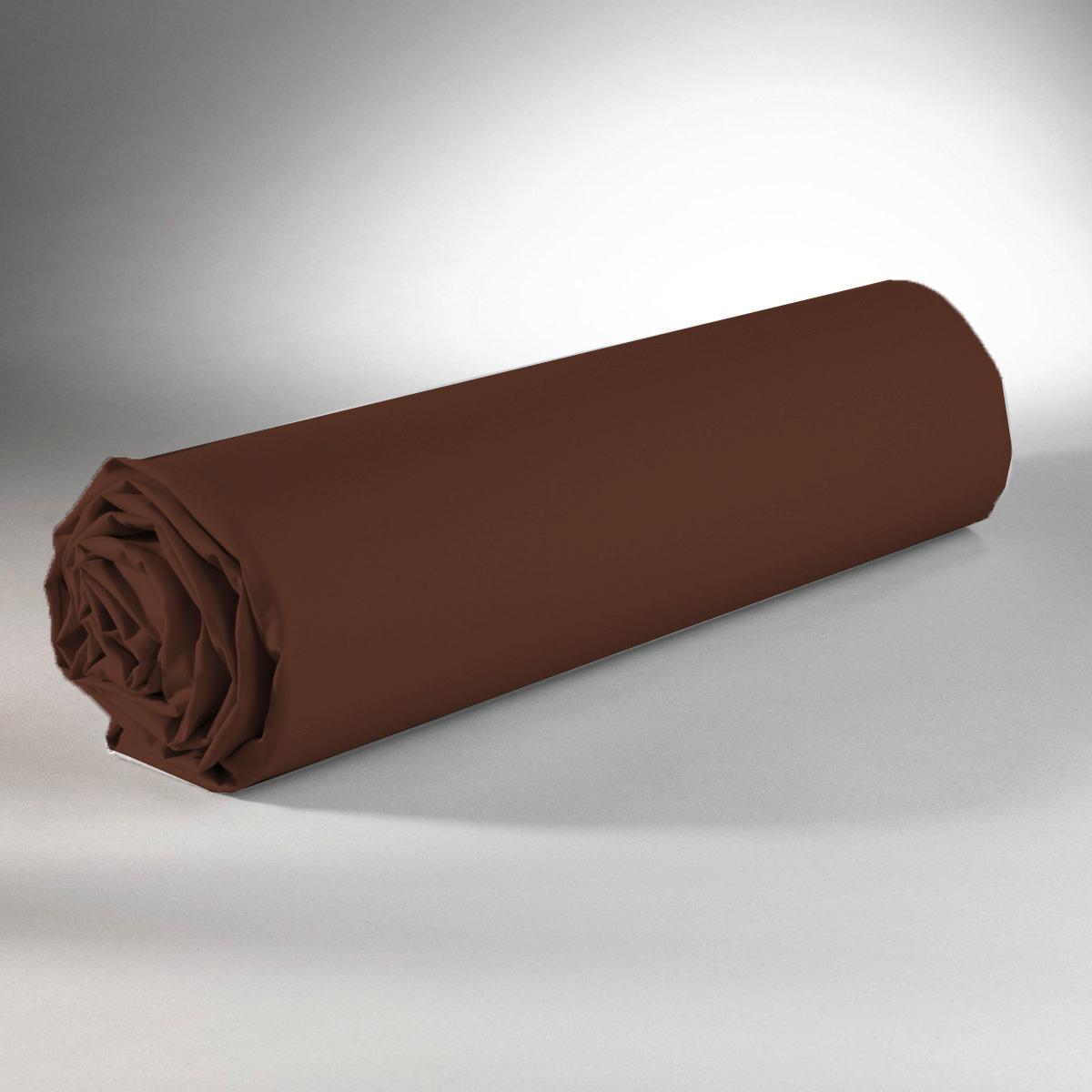 Drap housse 100% coton 90x190+25 marron