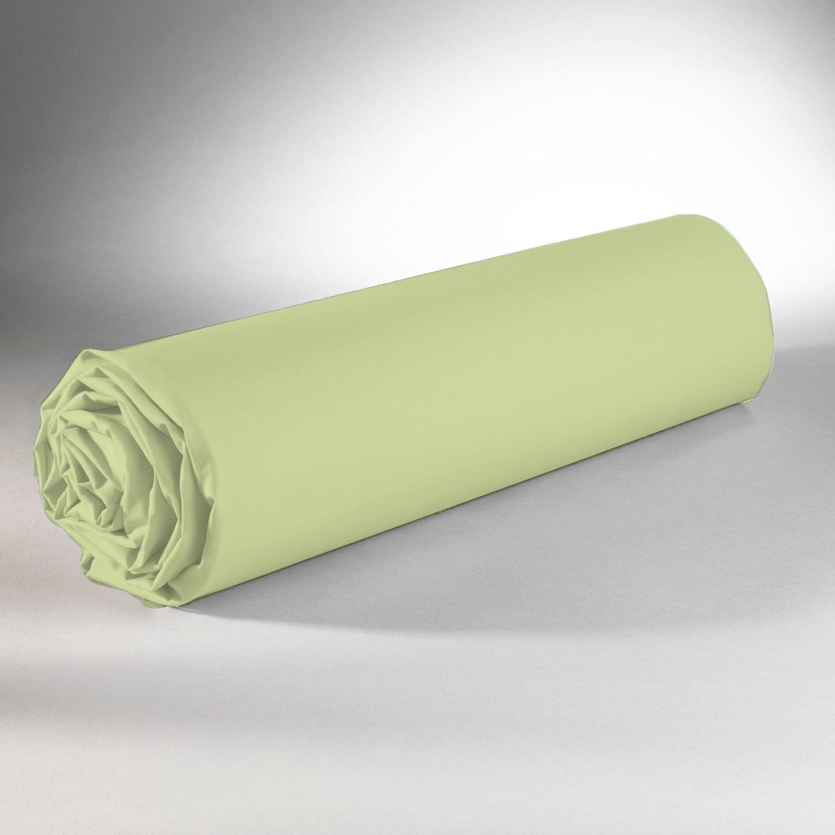 Drap housse 100% coton 90x190+25 vert