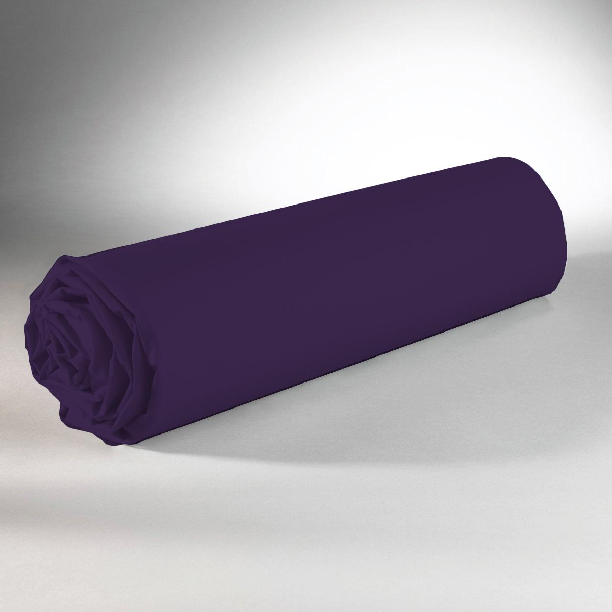 Drap housse 100% coton 90x190+25 violet