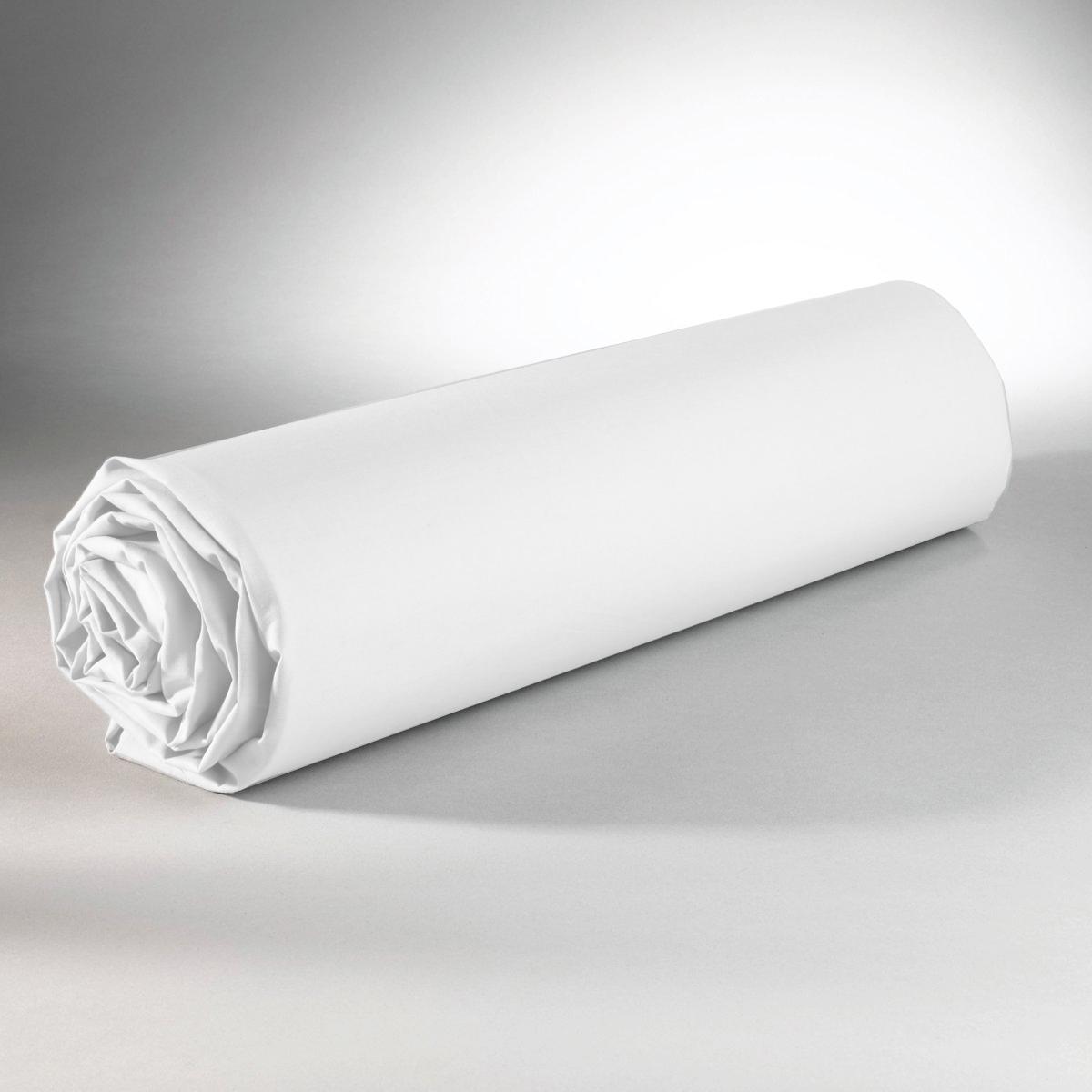 Drap housse 100% coton 90x190+25 blanc