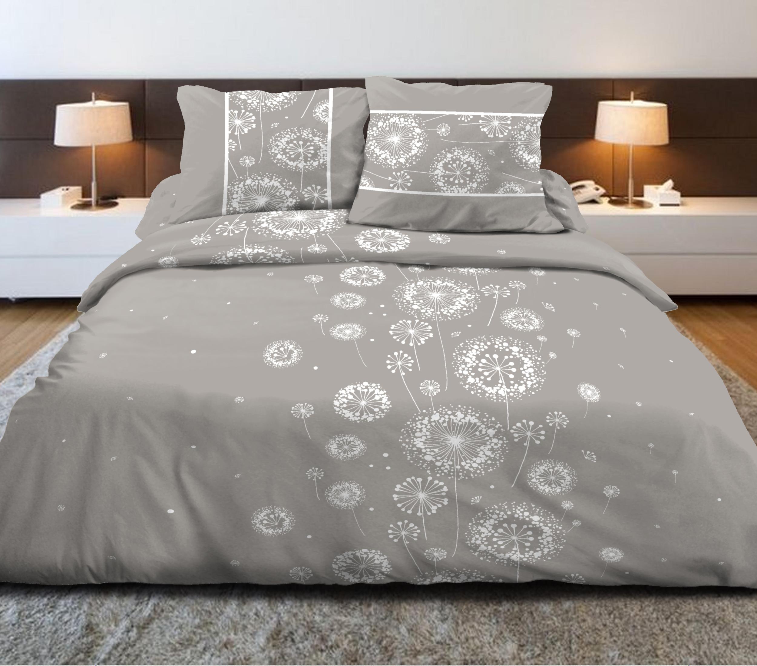 Parure de drap 100% coton 4pcs 240x300 agri gris