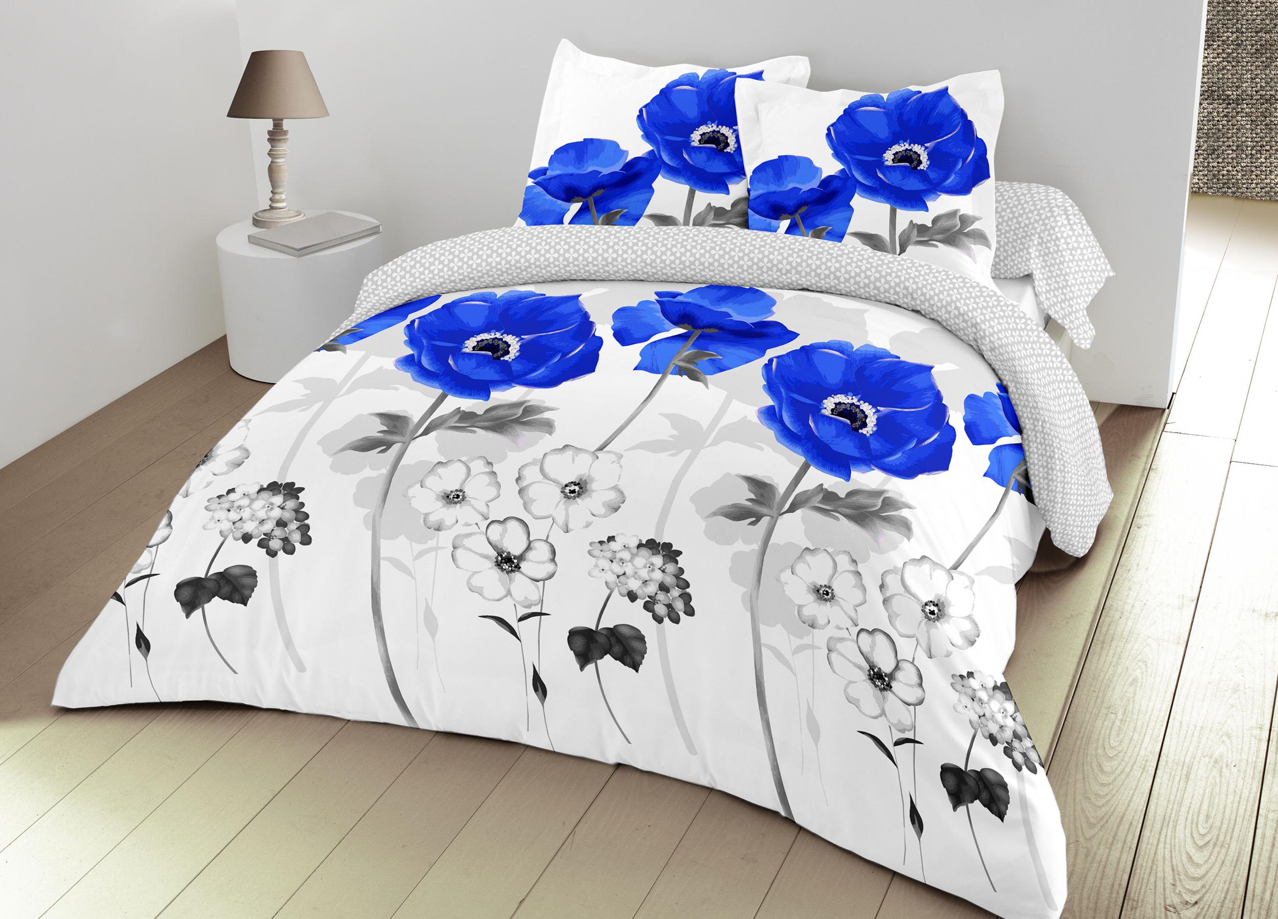 Parure de couette 100% coton 3pcs 200x200 bleuet