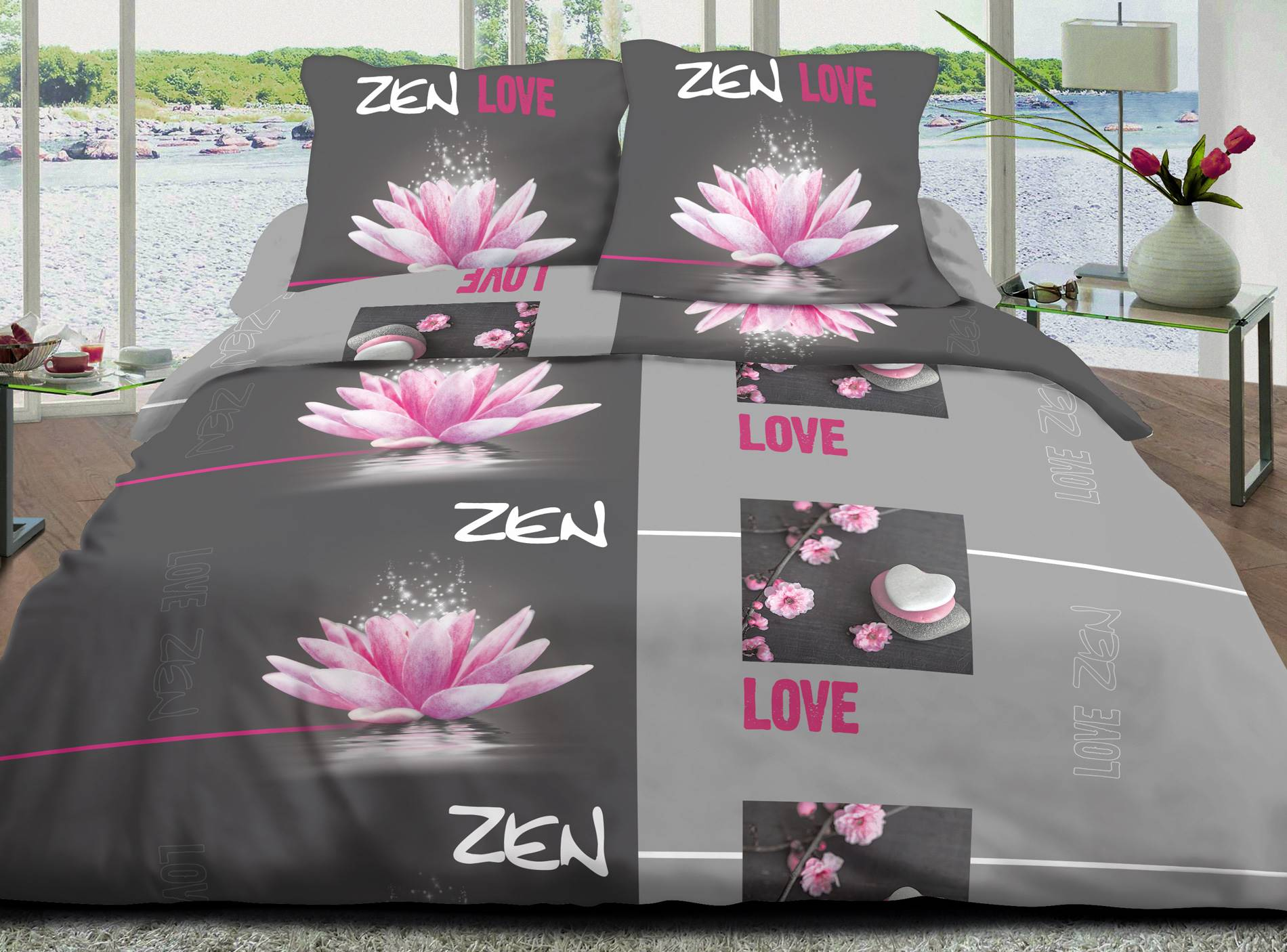 Parure de couette 3 pcs Love zen