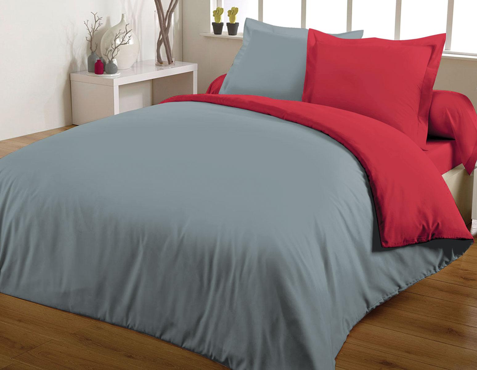 Parure de couette 100% coton 260x240 rouge/gris