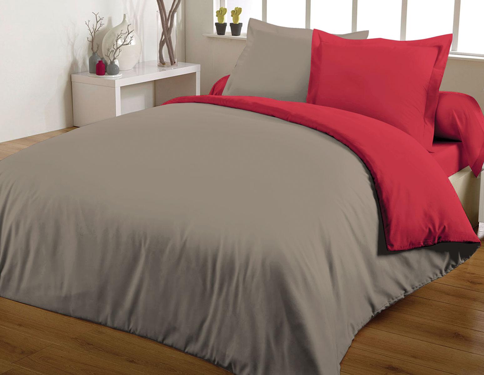 Parure de couette 100% coton 260x240 rouge/taupe