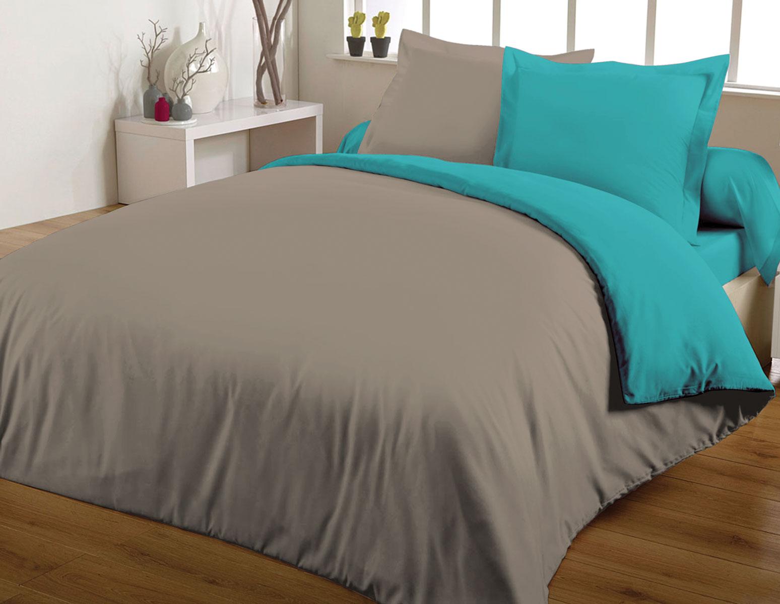 Parure de couette 100% coton 260x240 turquoise/taupe