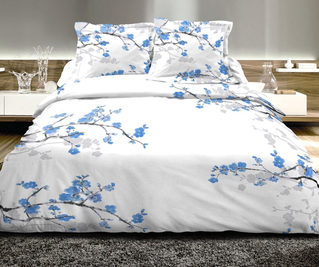 Parure de couette 100% coton 3pcs 260x240 cerisier bleu