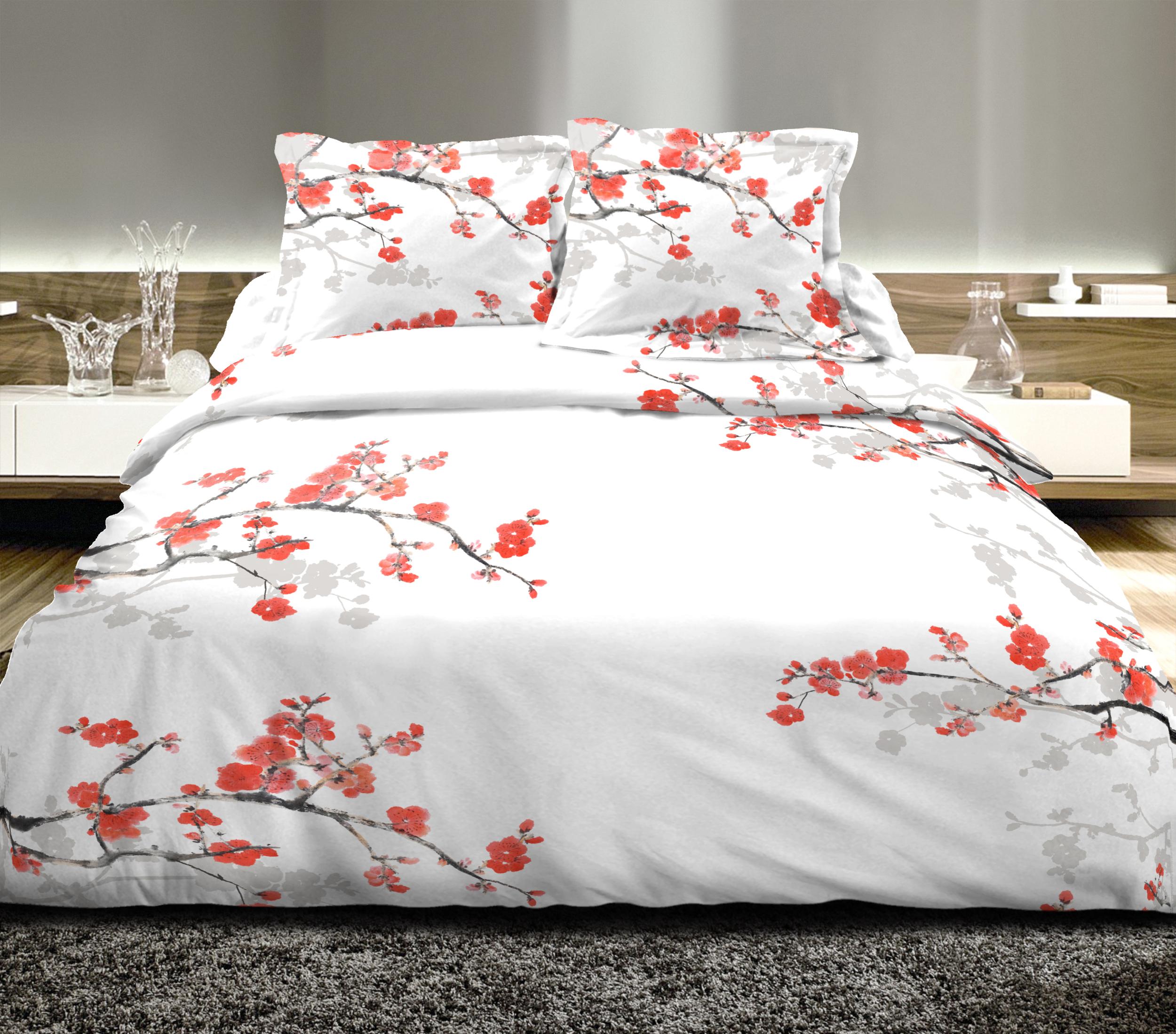 Parure de couette 100% coton 3pcs 260x240 cerisier rouge