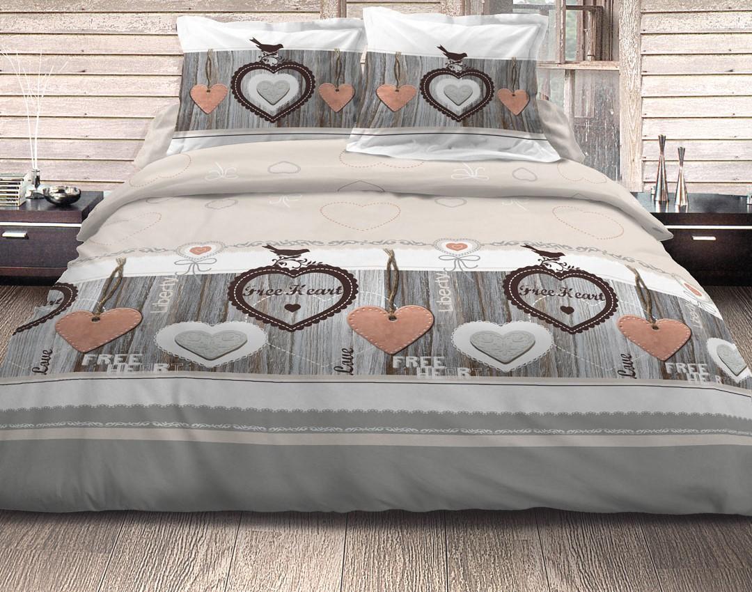 Housse de couette 260x240 parure + taies 100% coton free heart