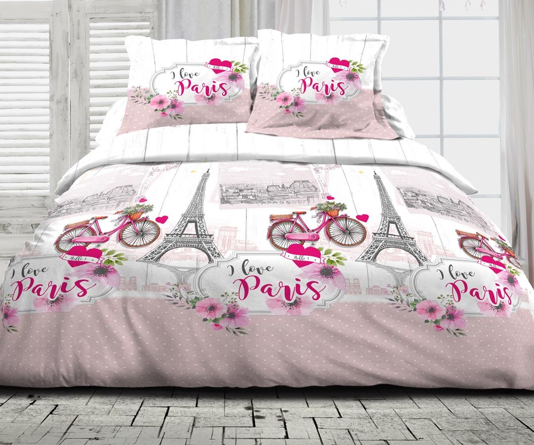 Parure de drap 100% coton 4pcs 240x300 100% coton i love paris rose