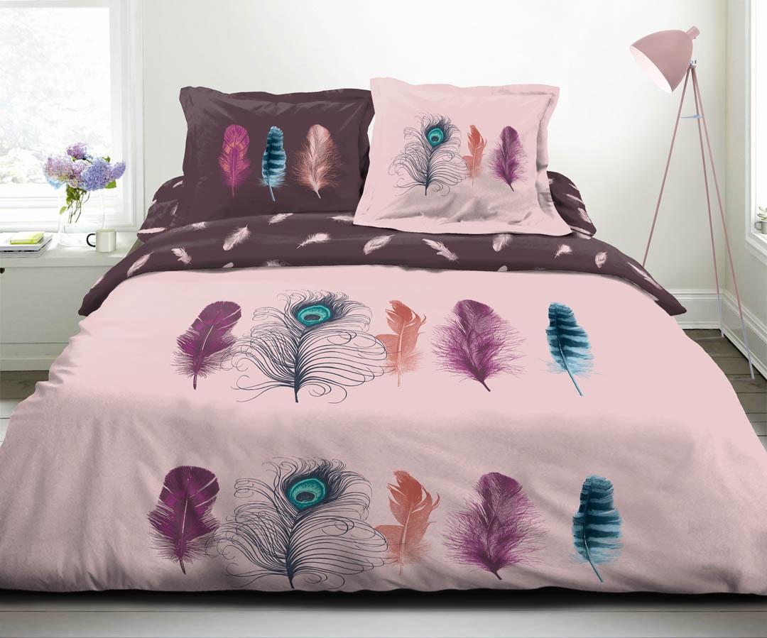 Parure de drap 100% coton 4pcs 240x300 100% coton plumes paradise