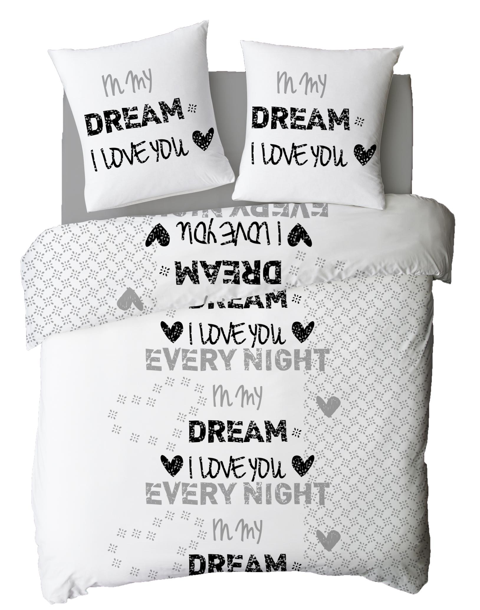 Parure de couette 100% coton 3 pcs 240x220 my dream blanc