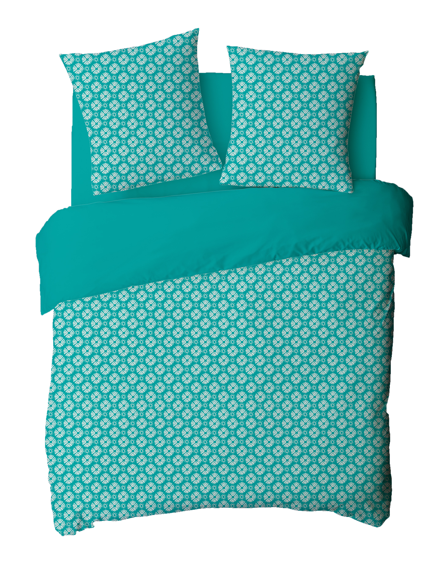 Parure de couette 100% coton 3 pcs 240x220 ceramic turquoise