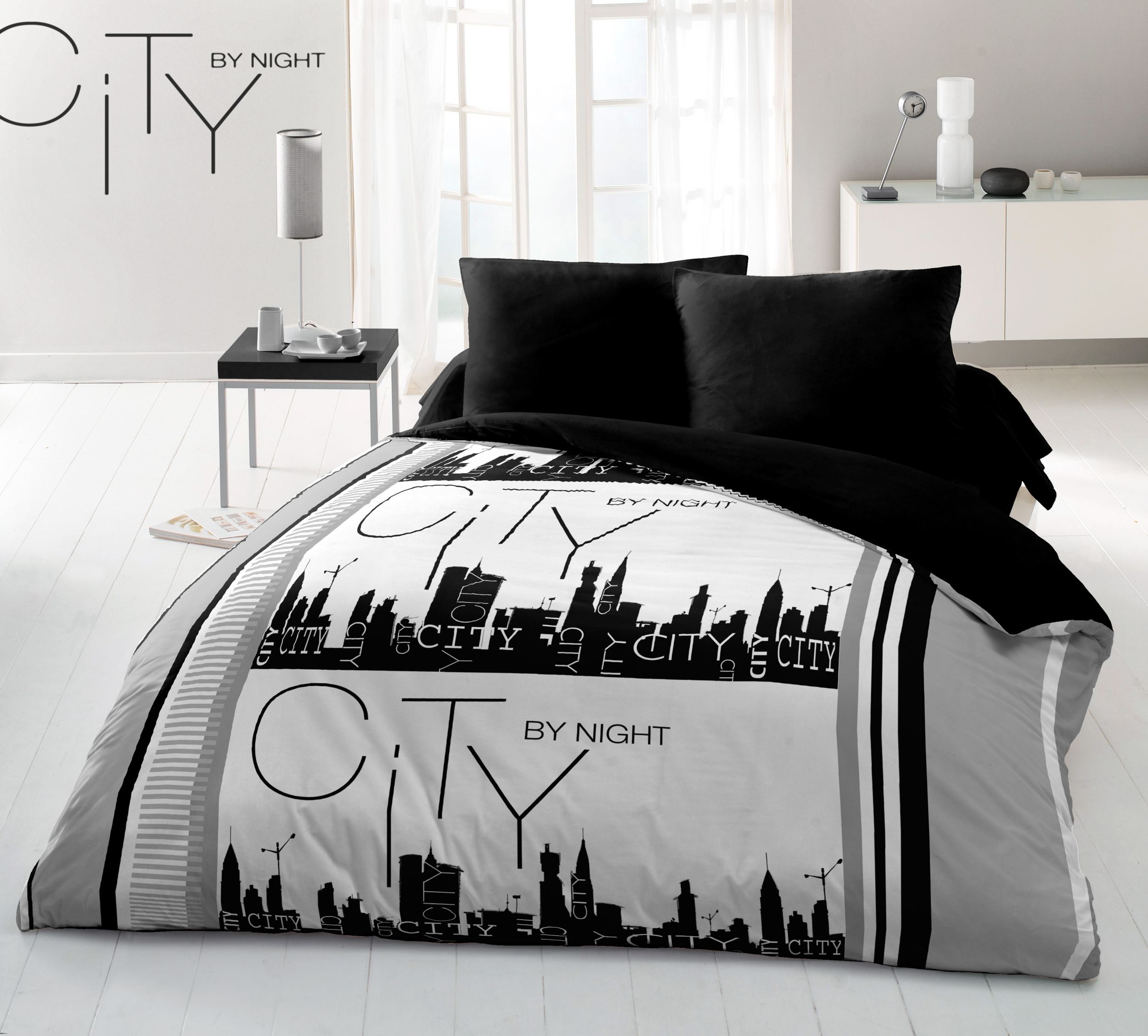 Housse de couette 100% coton 240x220 city by night