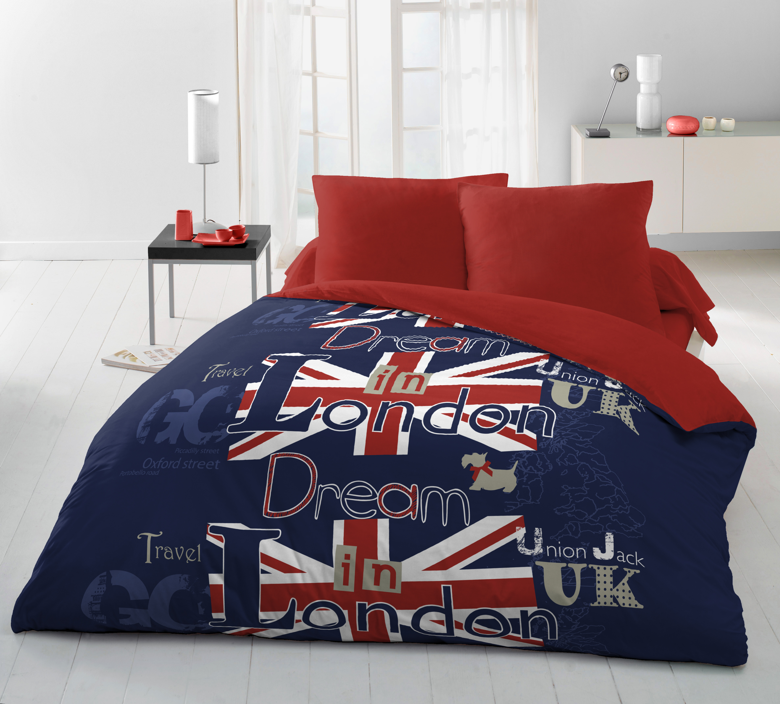 Parure de drap microfibre 4pcs 220x290 dream in london