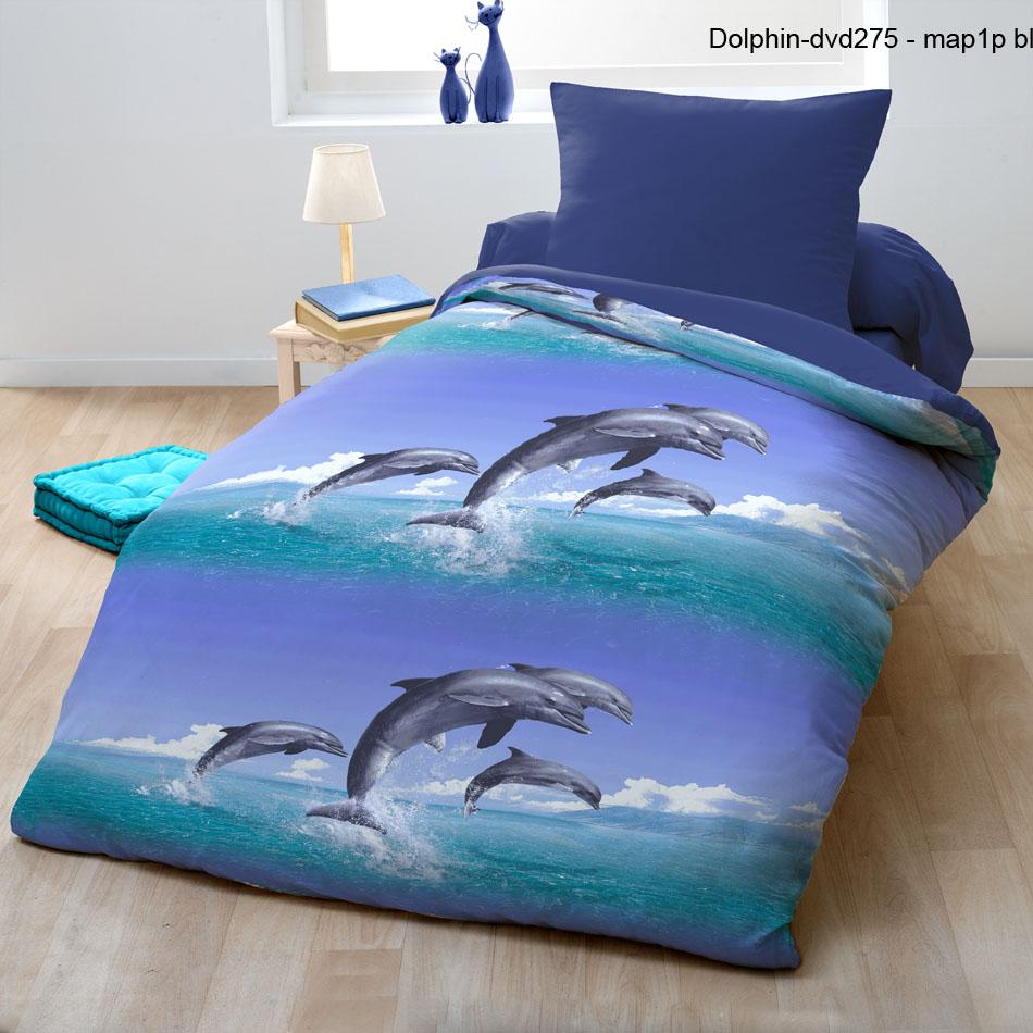 Parure de couette microfibre 2pcs 140x200 dolphin