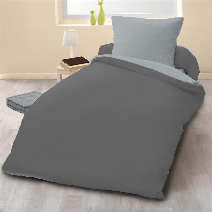 Parure de couette 2pcs 140x200 100% coton 57 fils gris clair/anthracite