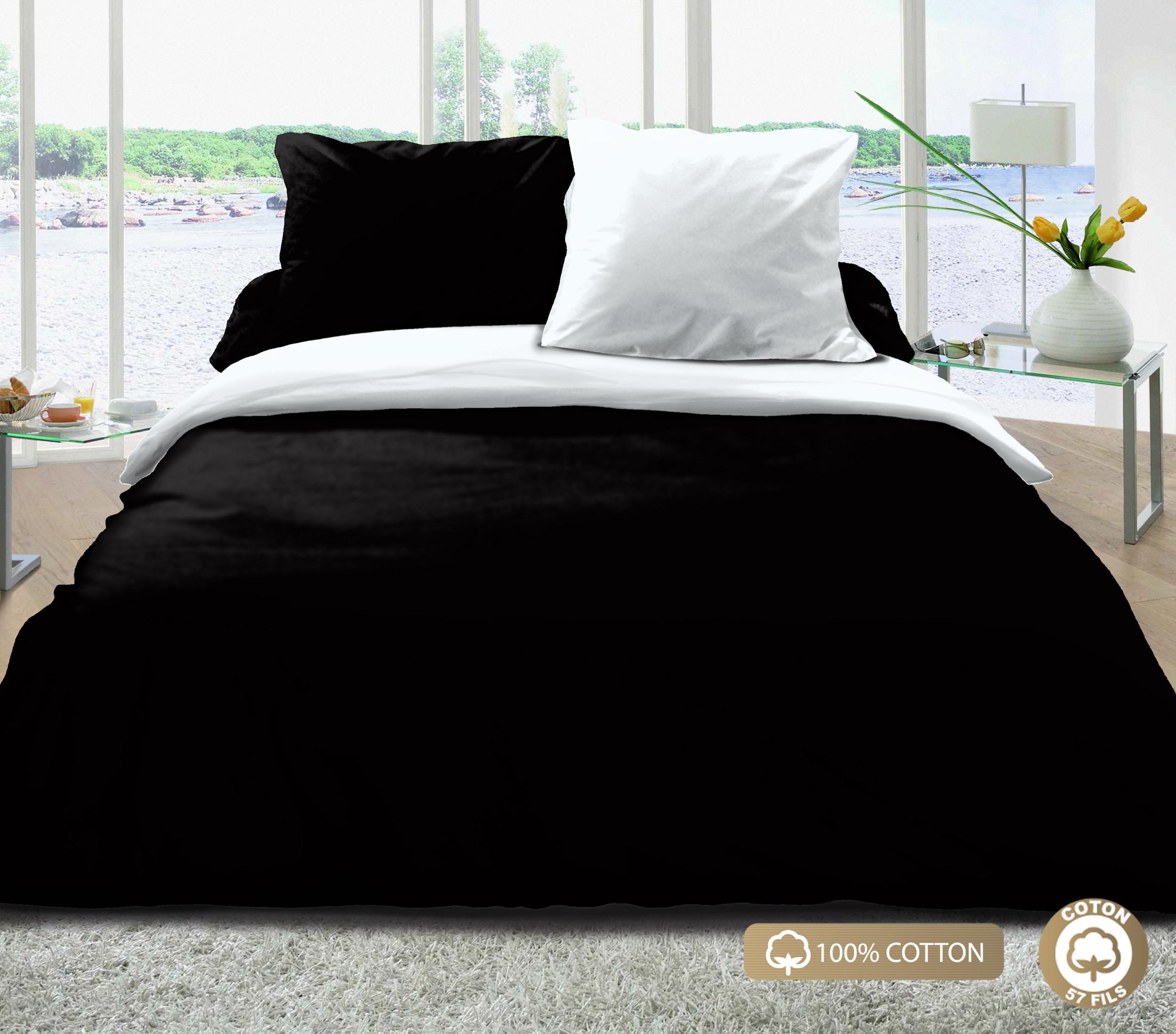 Parure de couette 100% coton 3pcs 200x200 noir/blanc