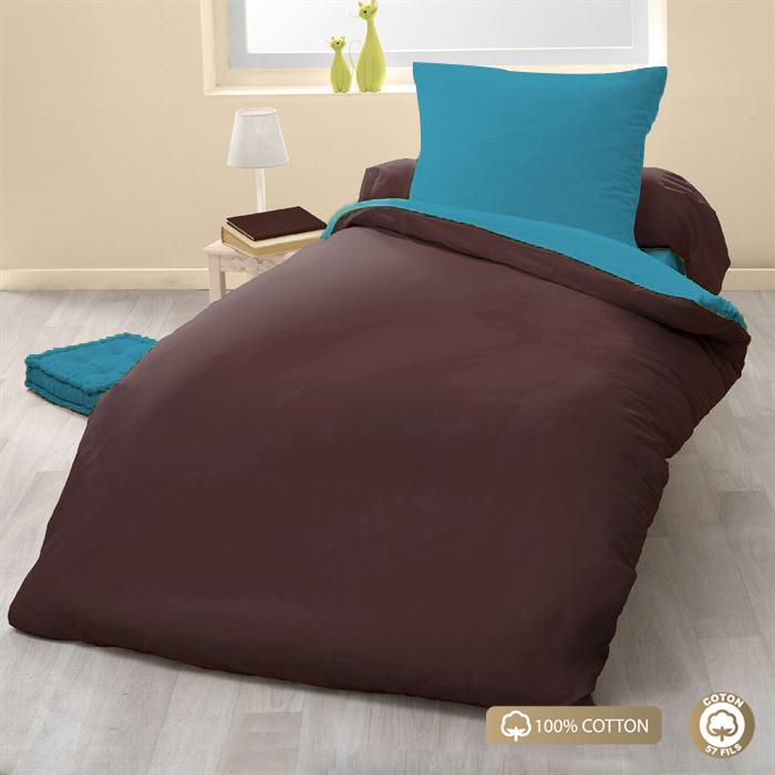 Parure de couette 100% coton 2pcs 135x200 choco/turquoise
