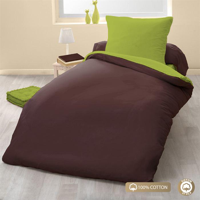Parure de couette 100% coton 2pcs 135x200 choco/vert