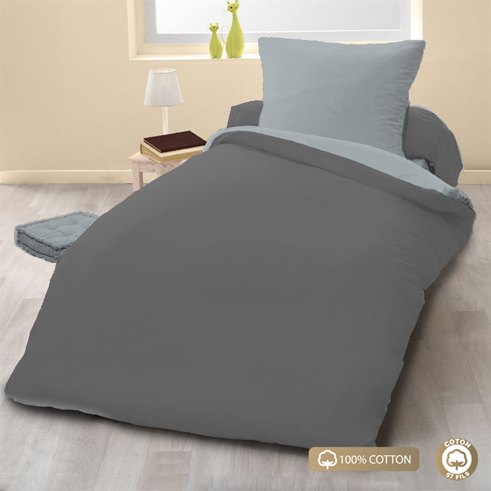 Parure de couette 100% coton 2pcs 135x200 gris clair/anthracite