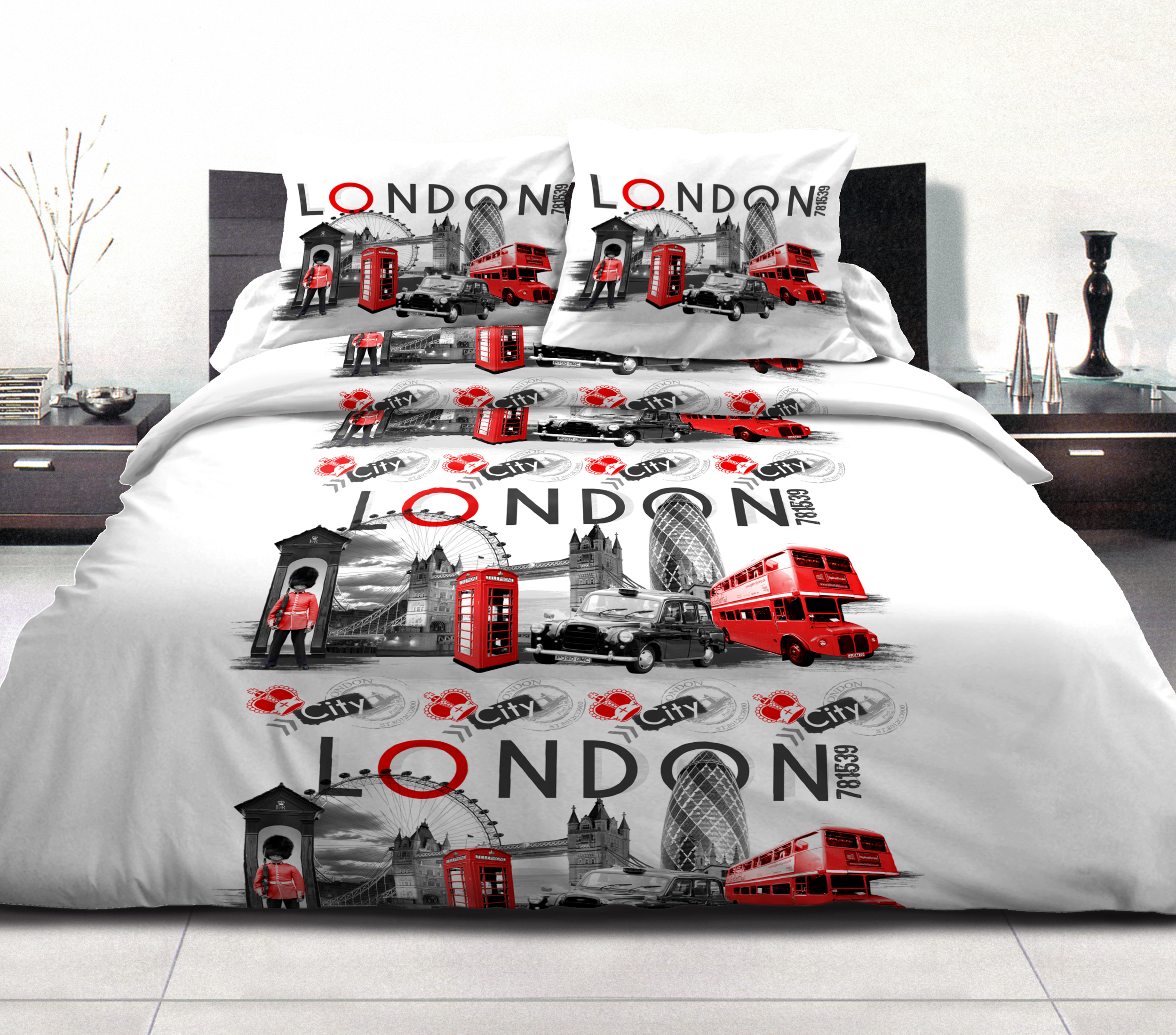 Parure de drap p/c 4pcs 240x300 london city rouge