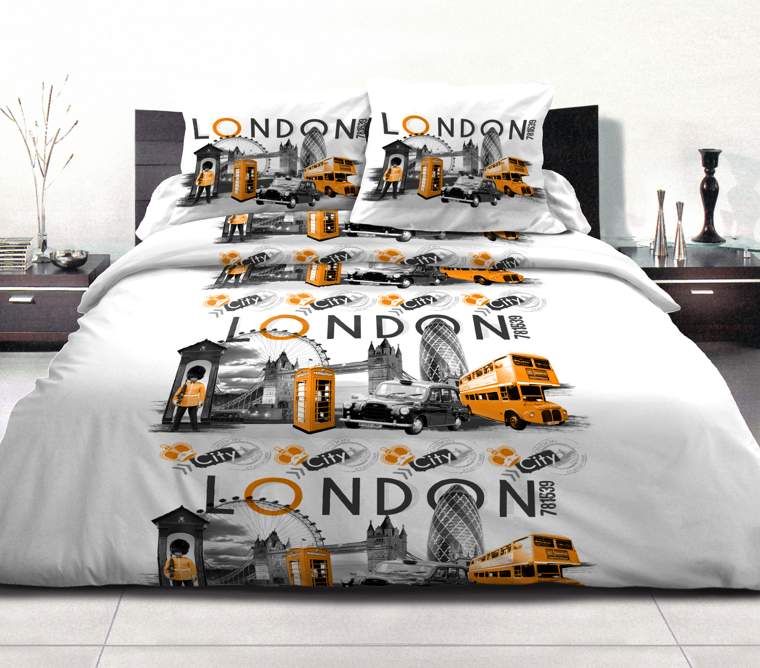 Parure de couette London city orange, 2 taies d?oreillers offertes