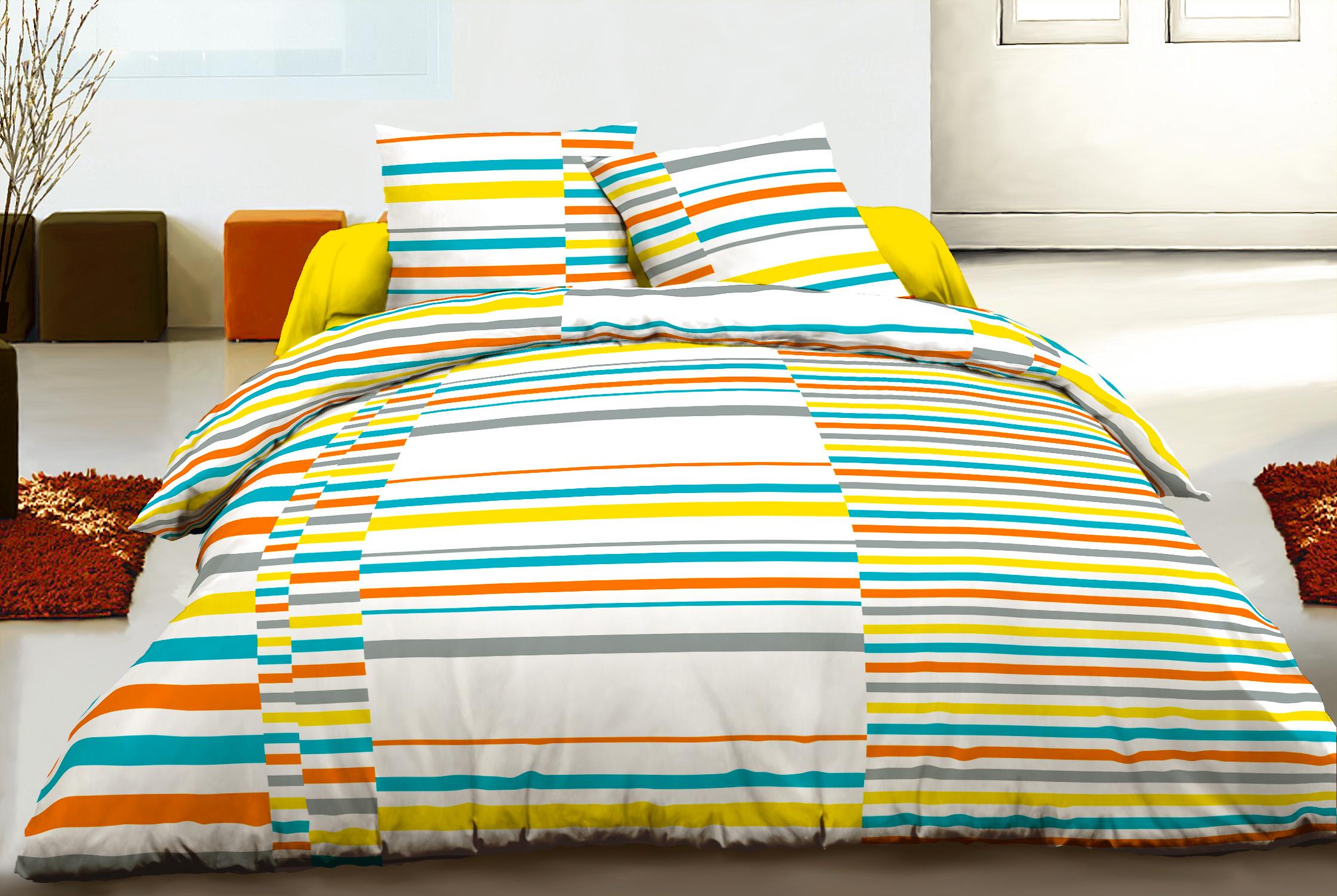 Parure de drap 100% coton 4pcs 240x300 alternance orange