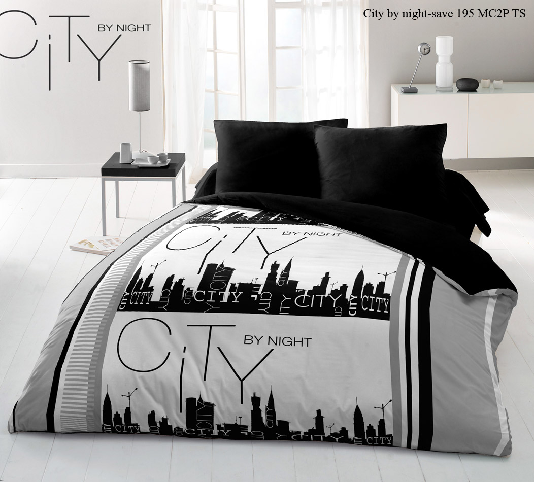 Parure de drap microfibre 4pcs 240x300 city by night