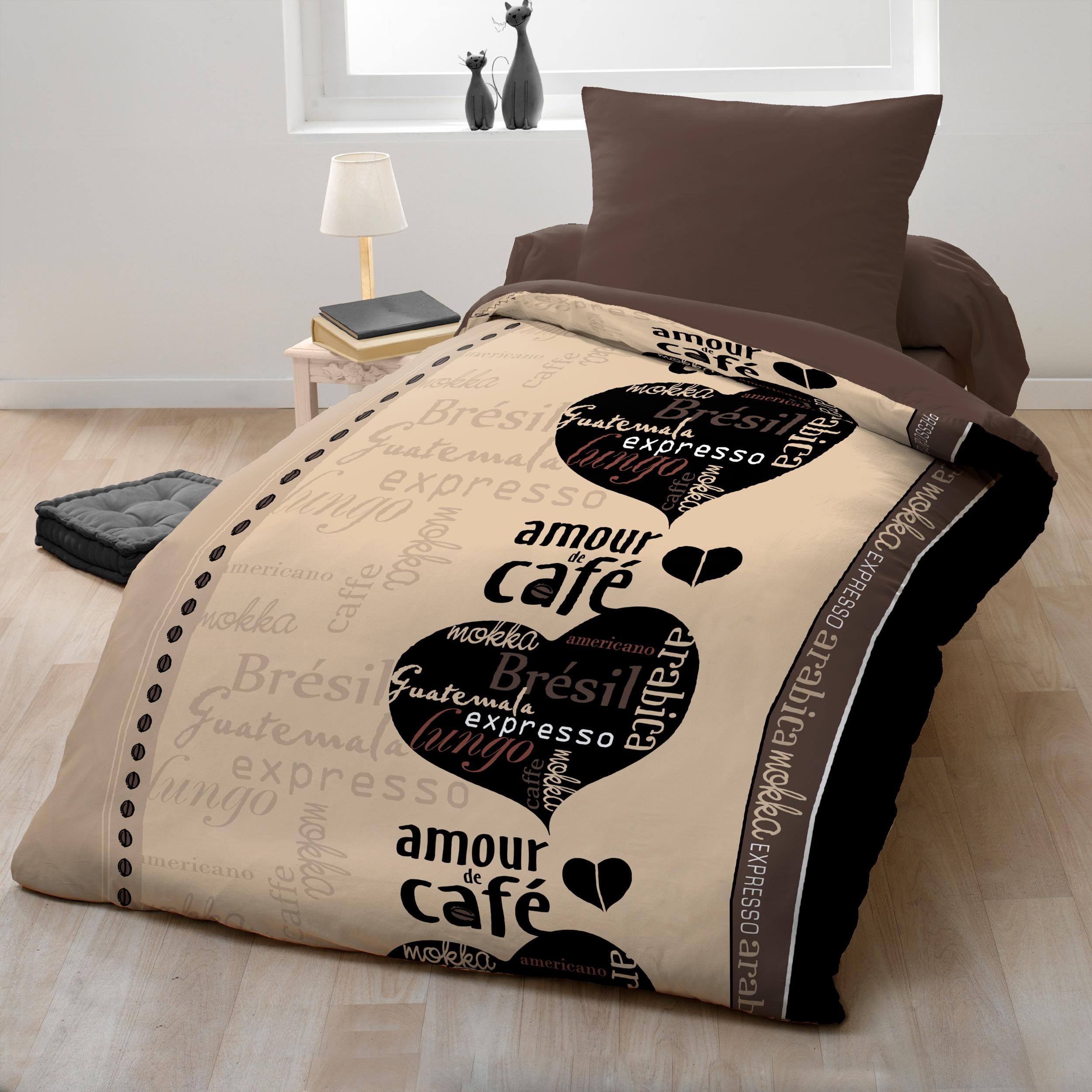 Parure de couette microfibre 2pcs 140x200 amour de cafe