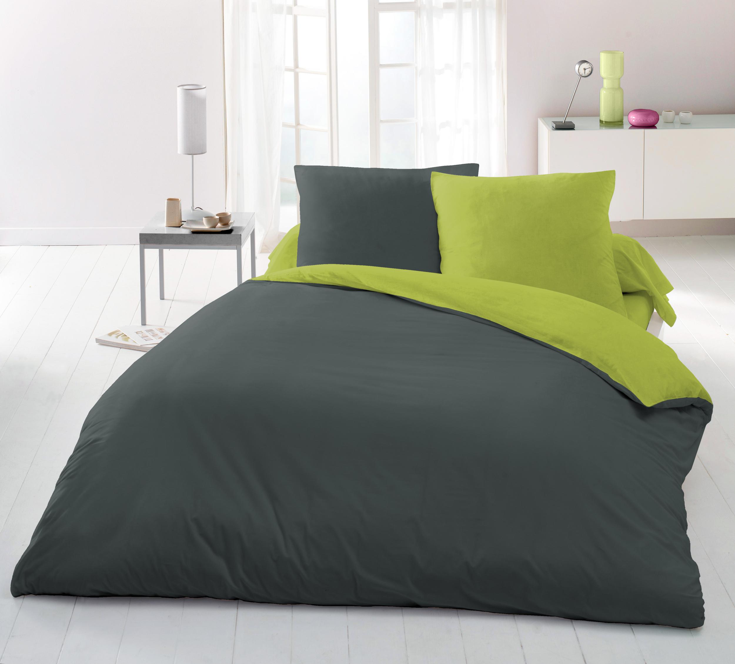 Parure de couette Anthracite/vert, 2 tailles d?oreillers offertes