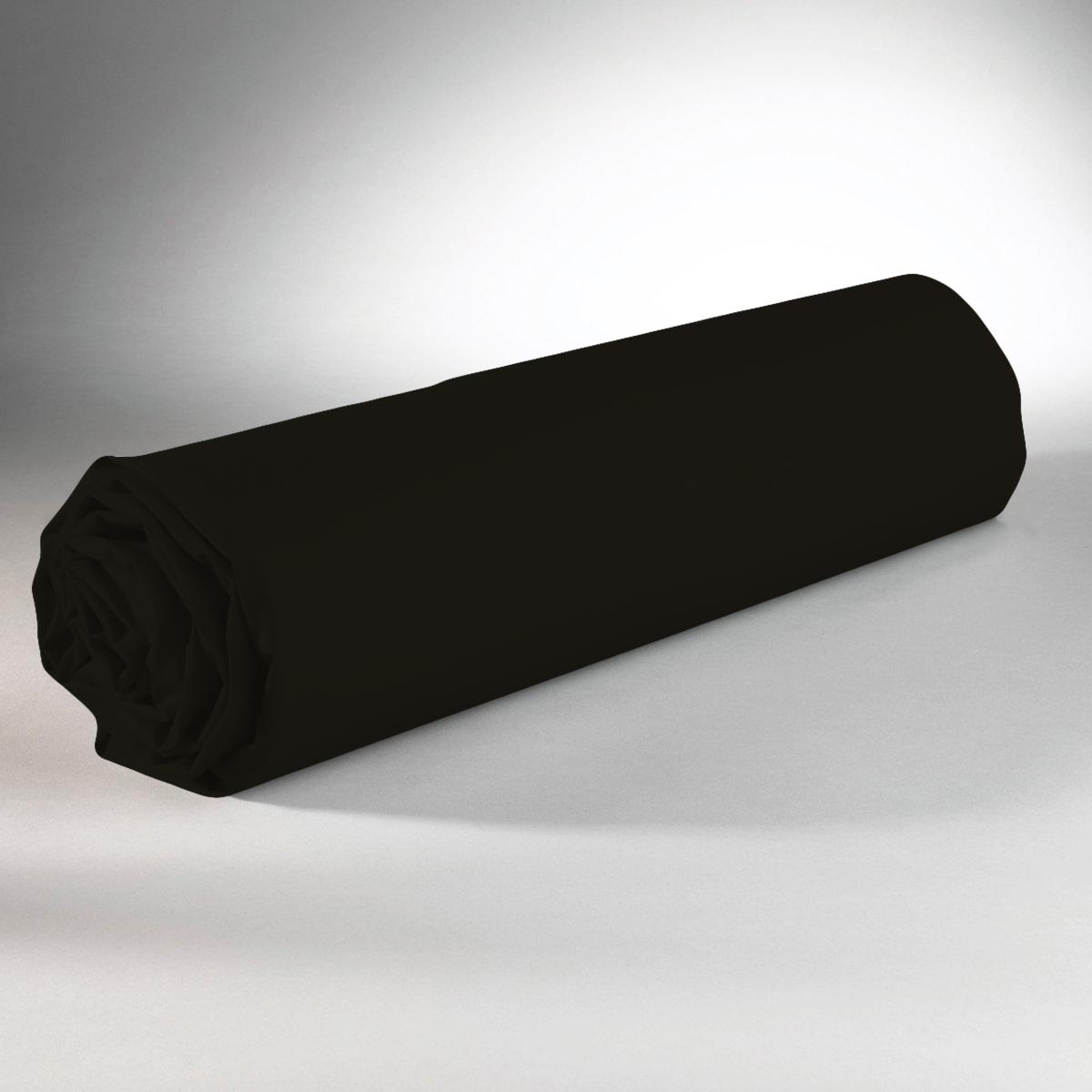 Drap housse 100% coton 90x190+25 noir