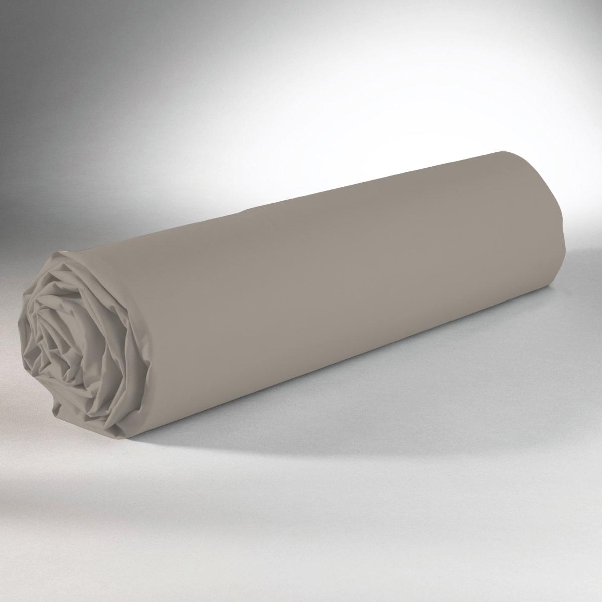 Drap housse 100% coton 160x200+25 gris clair