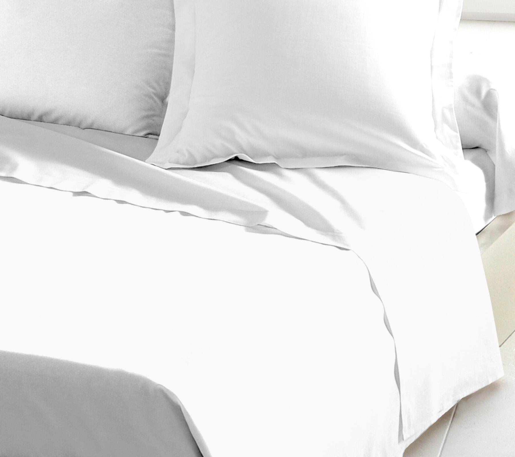Drap plat 100% coton 180x290 blanc