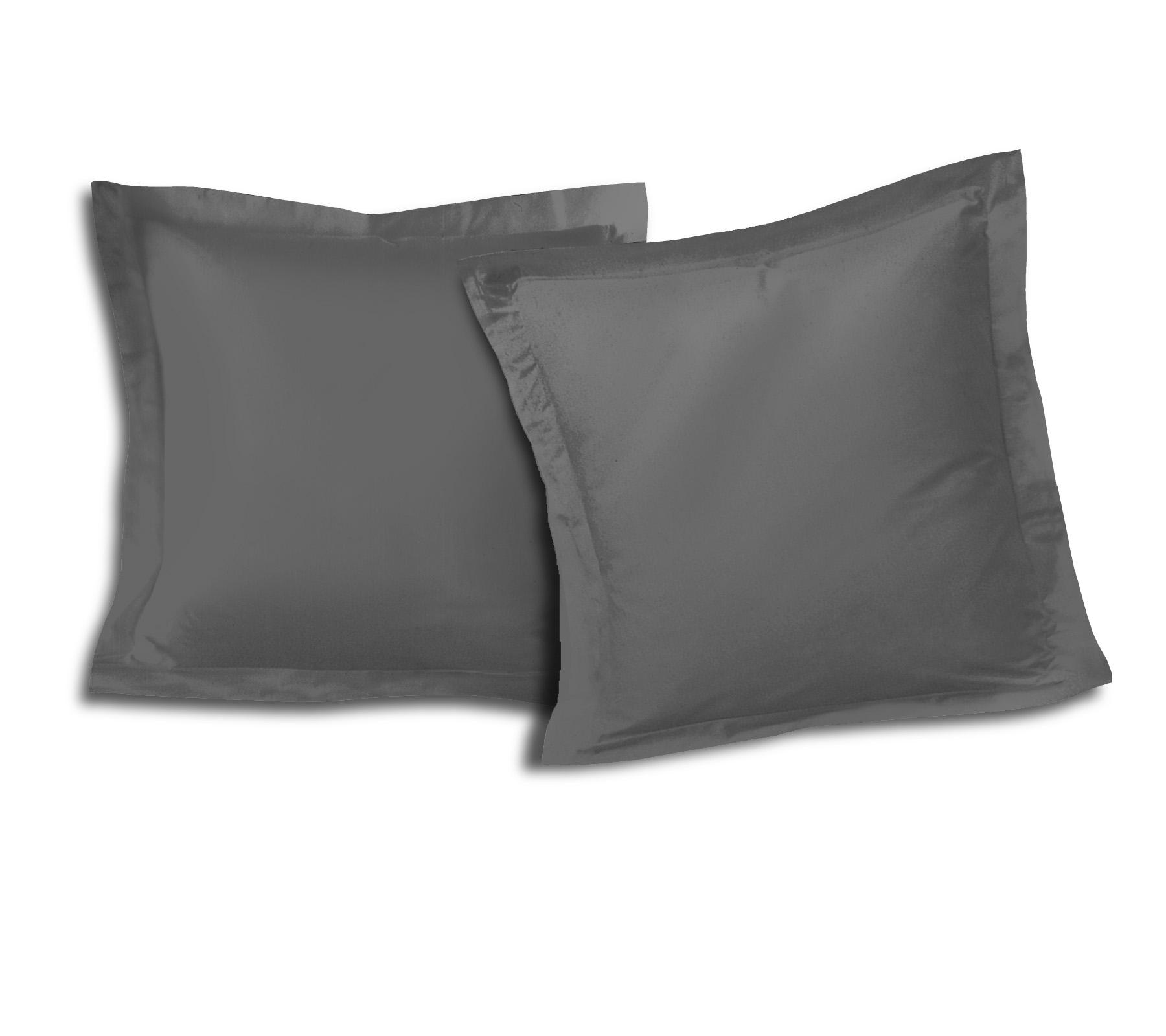 Paire de taies 100% coton 63x63 anthracite