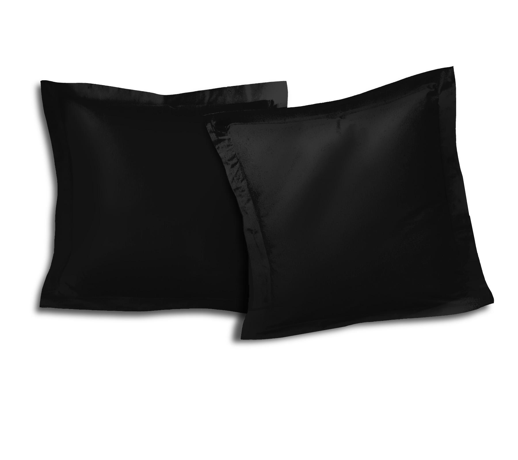 Paire de taies 100% coton 63x63 noir