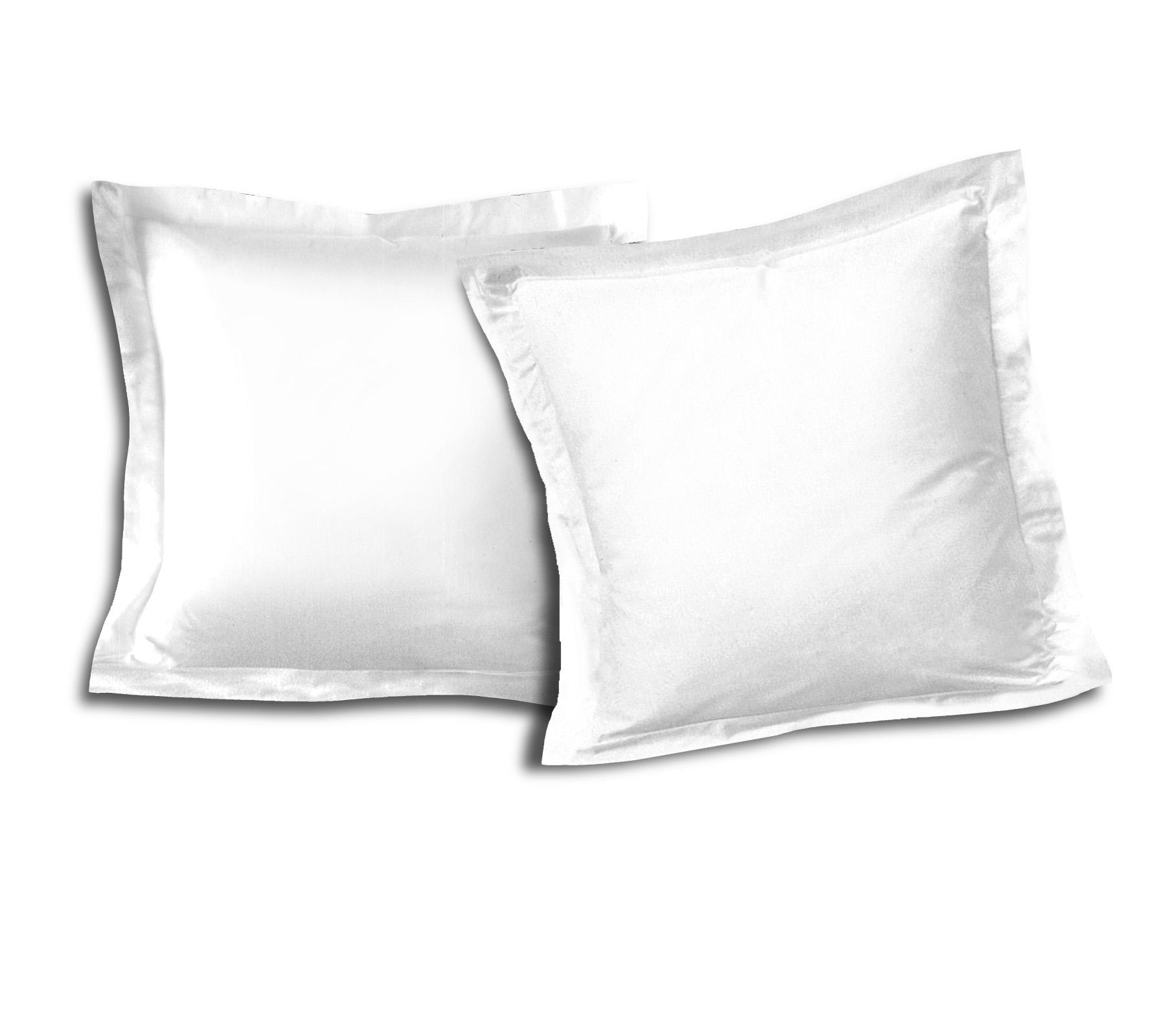 Paire de taies 100% coton 63x63 blanc