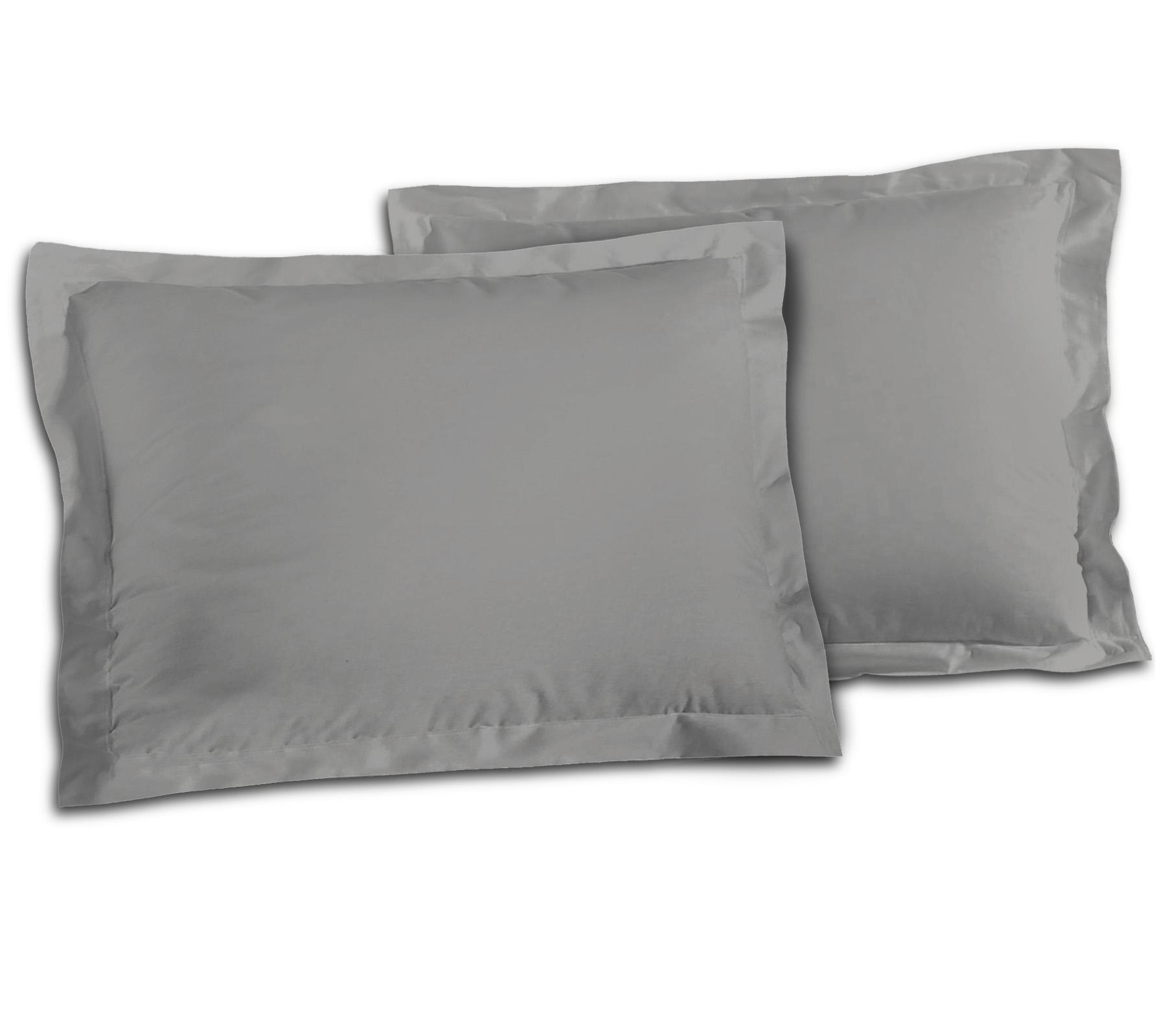 Paire de taies 100% coton 50x70 gris clair