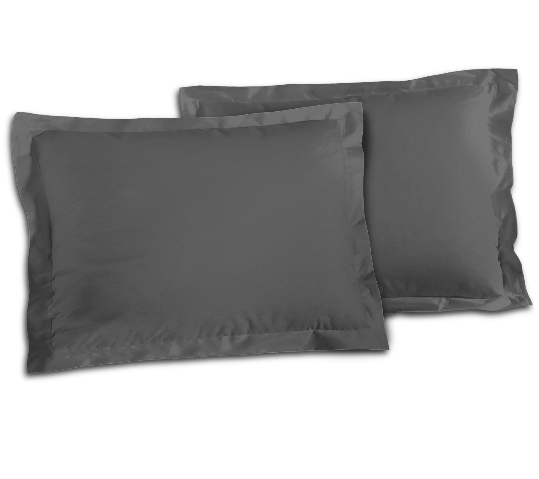 Paire de taies 100% coton 50x70 anthracite