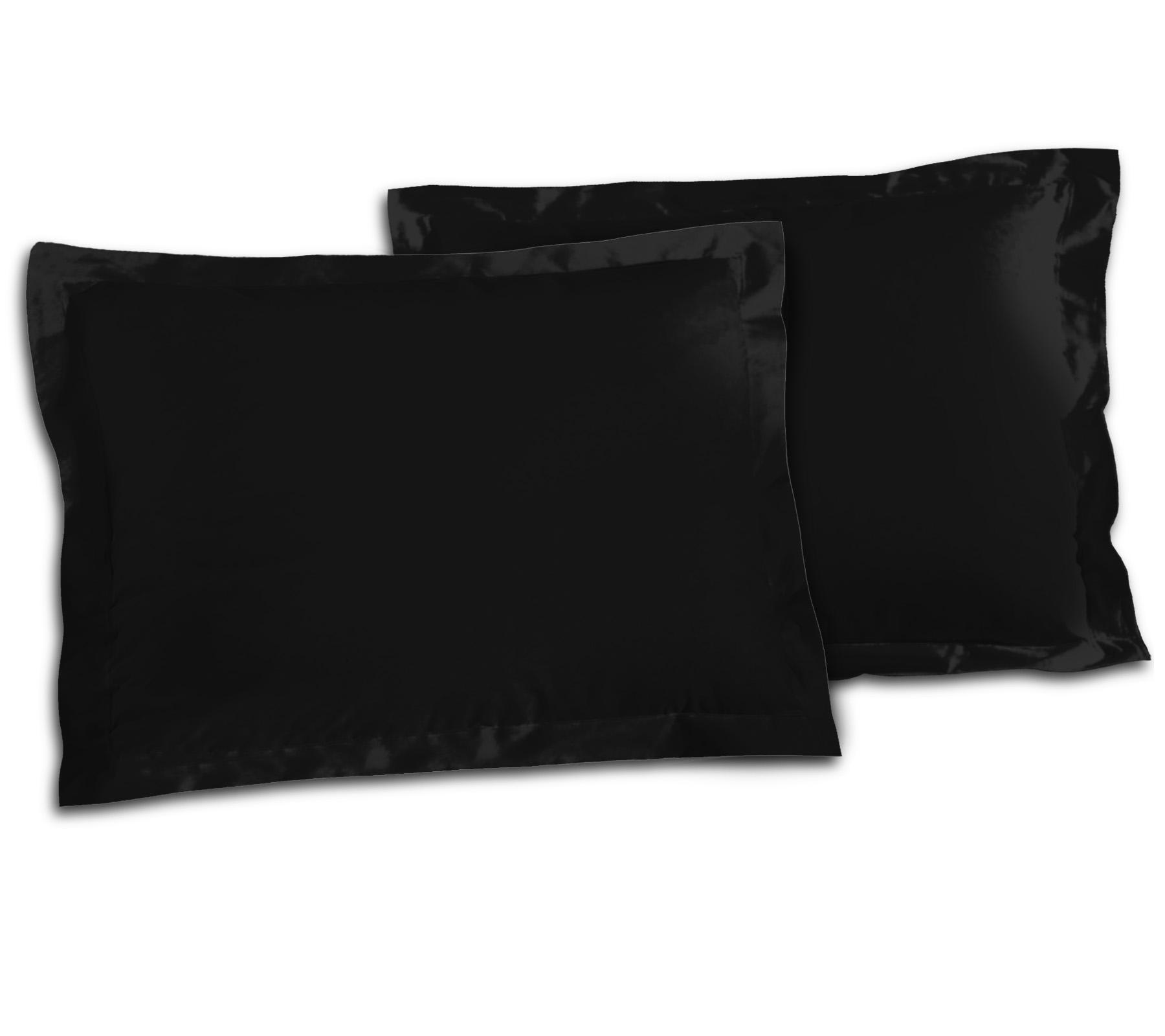 Paire de taies 100% coton 50x70 noir