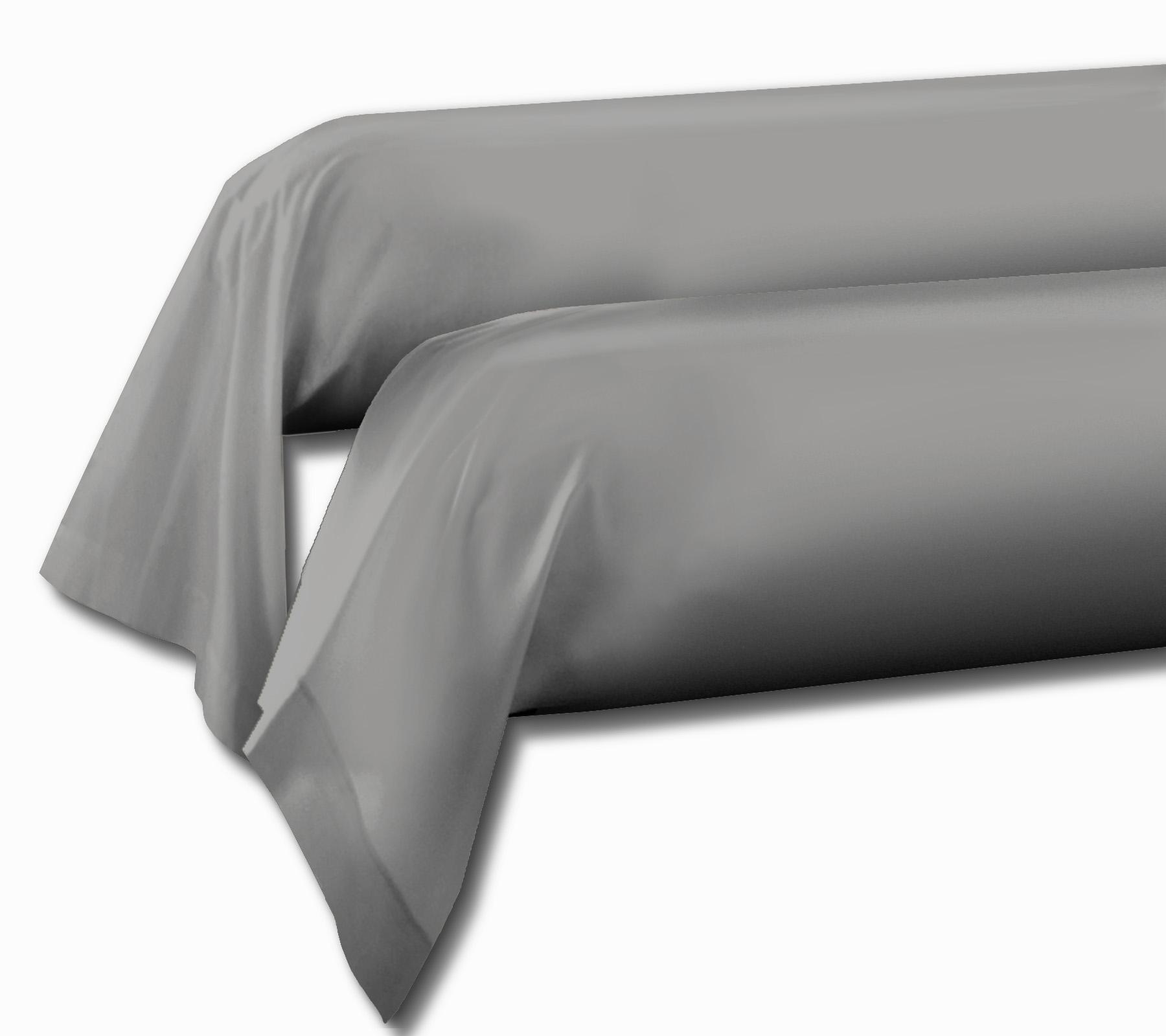 Paire de taies 100% coton 85x185 gris clair