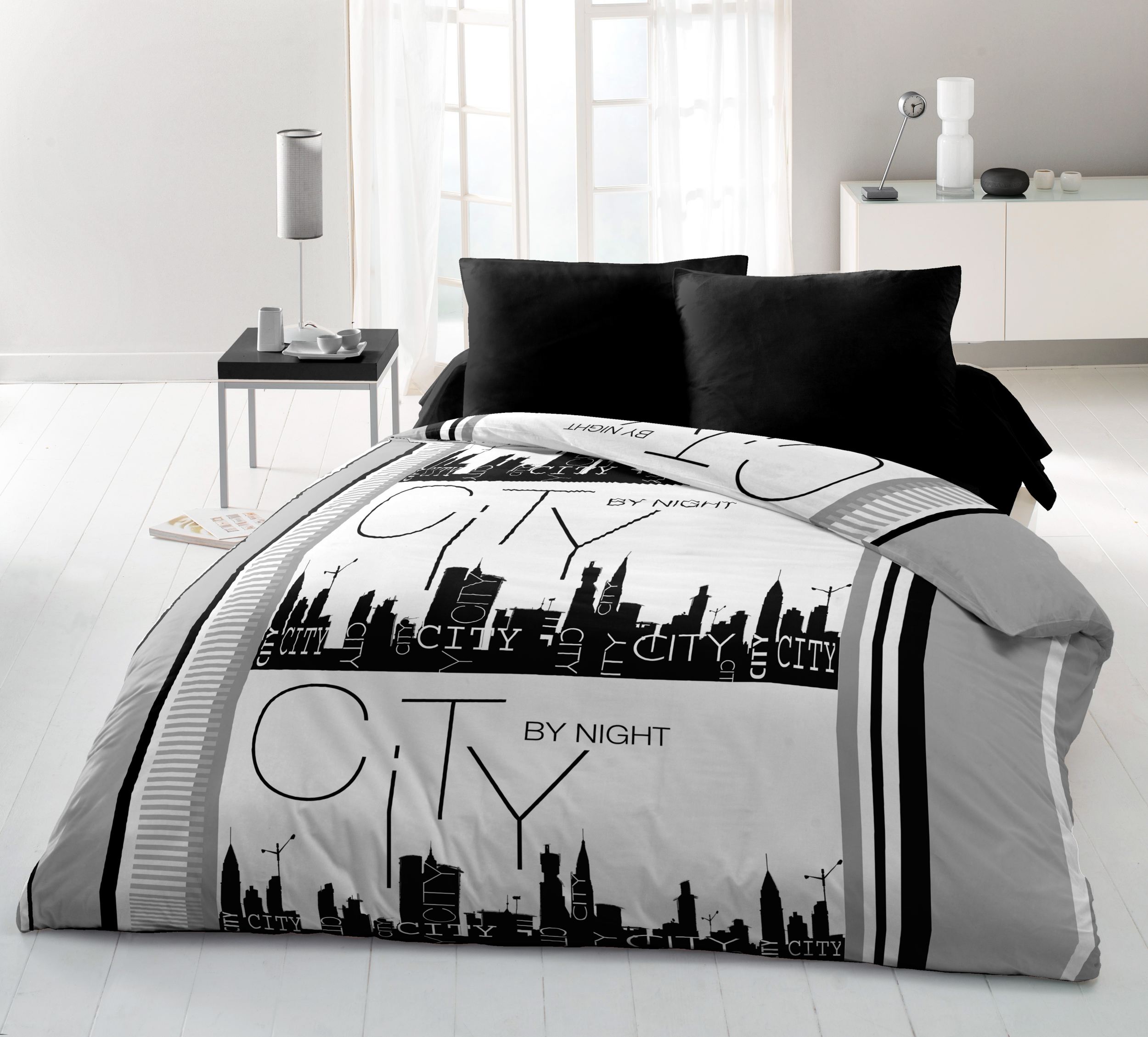 Parure de couette microfibre 3pcs 240x220 city by night