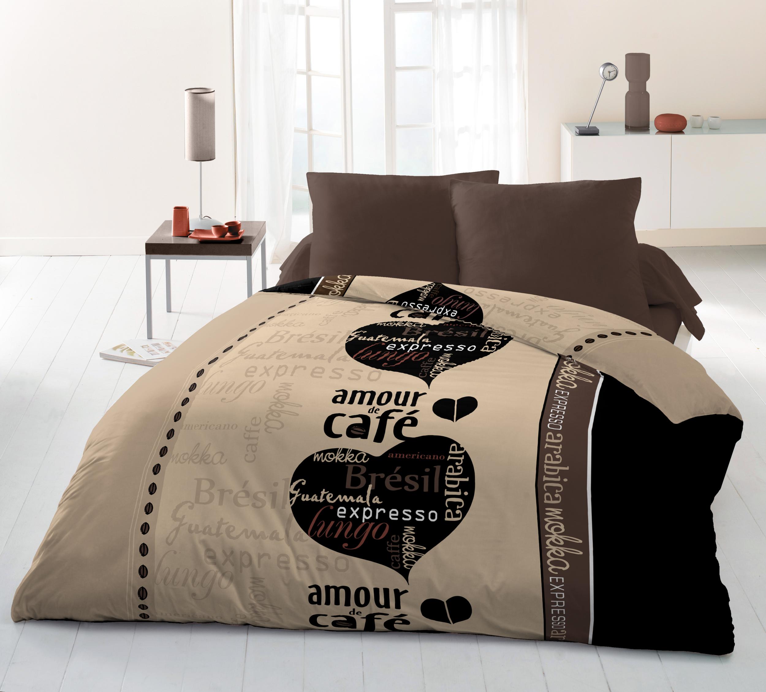 Parure de couette Amour de café, 2 taies d?oreillers offertes