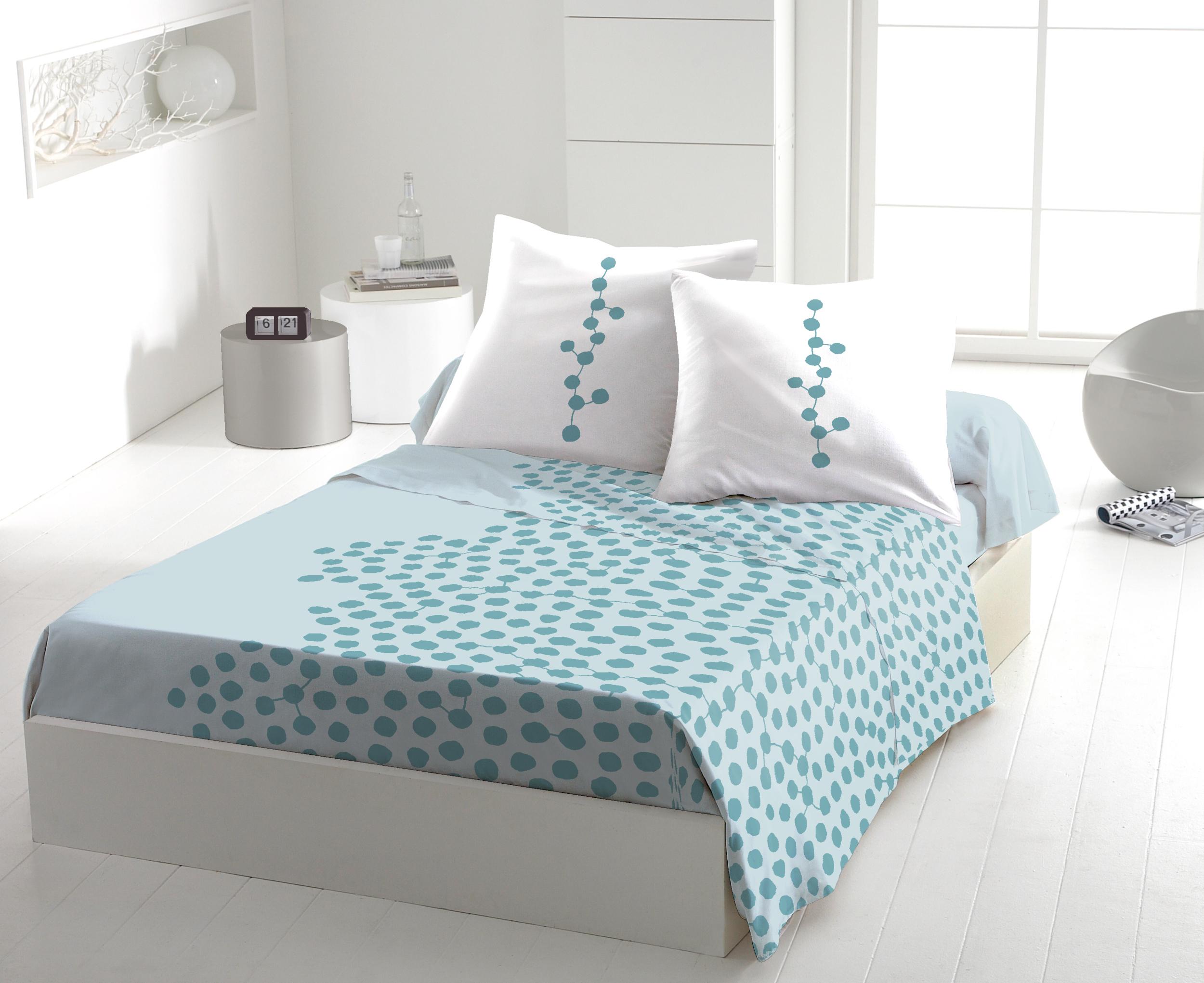 Parure de drap 100% coton 5pcs 240x300 dilem turquoise