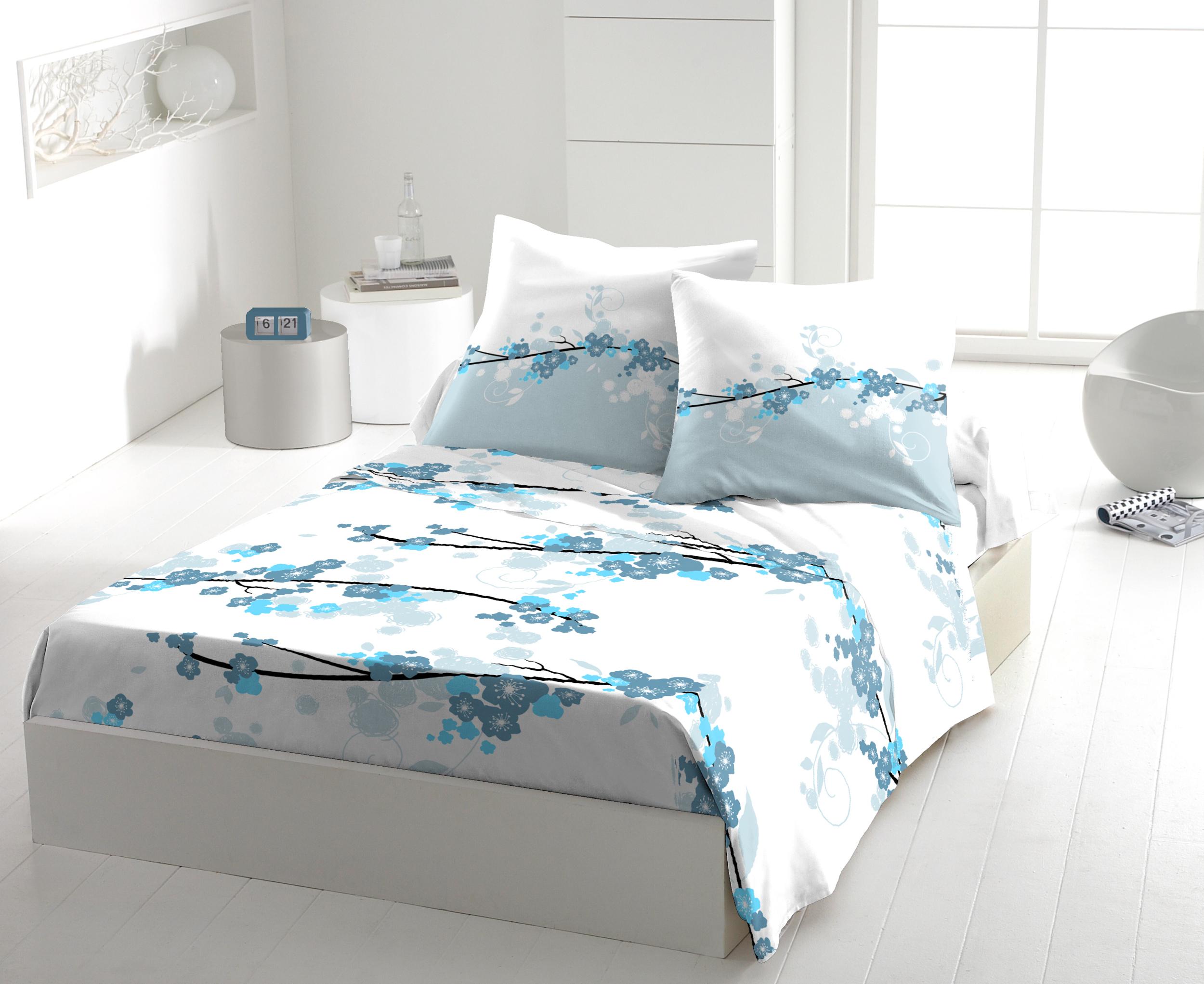 Parure de drap 100% coton 5pcs 240x300 japy bleu
