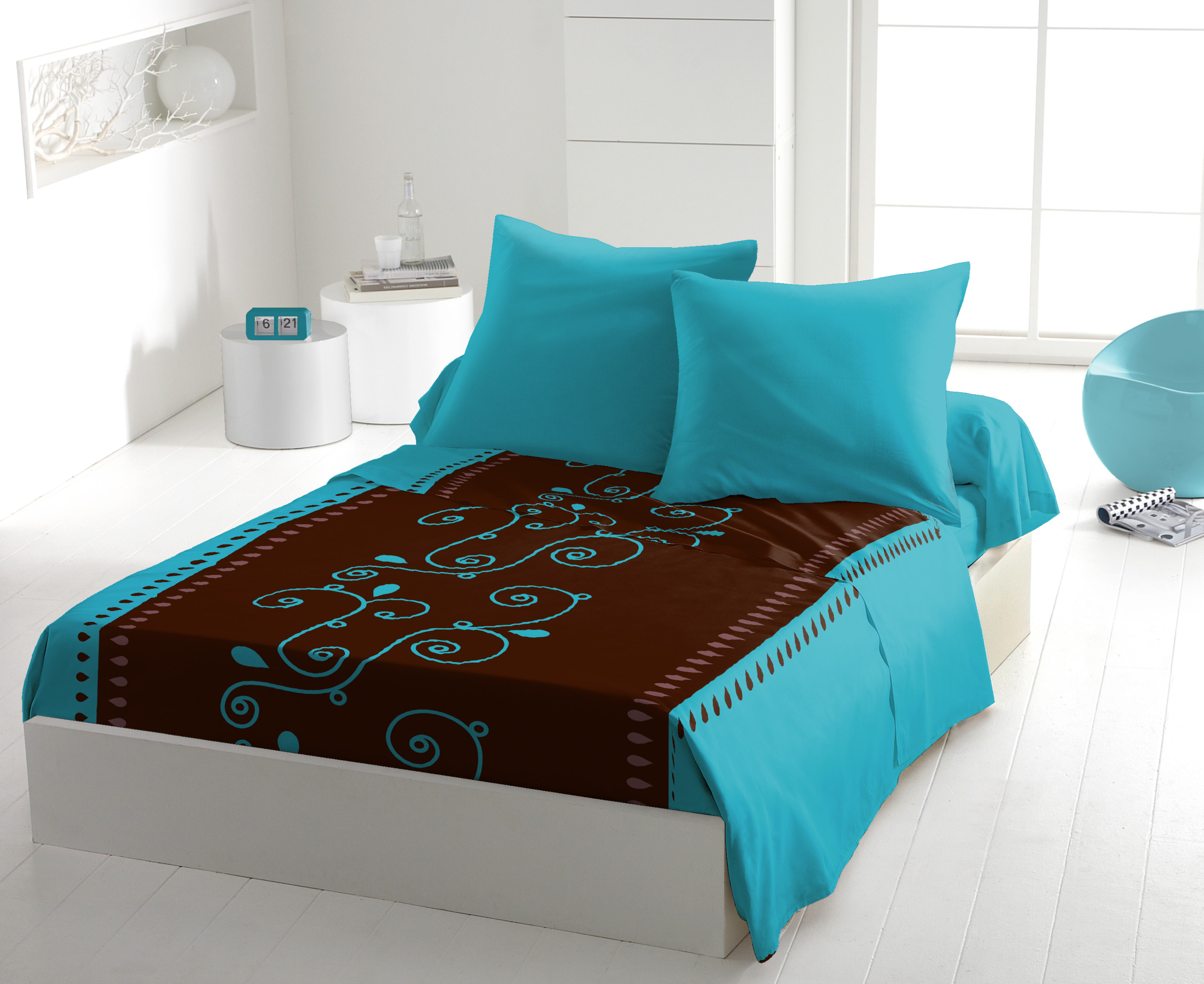 Parure de drap microfibre cacao barry turquoise 4pcs (drap plat 240x300cm)